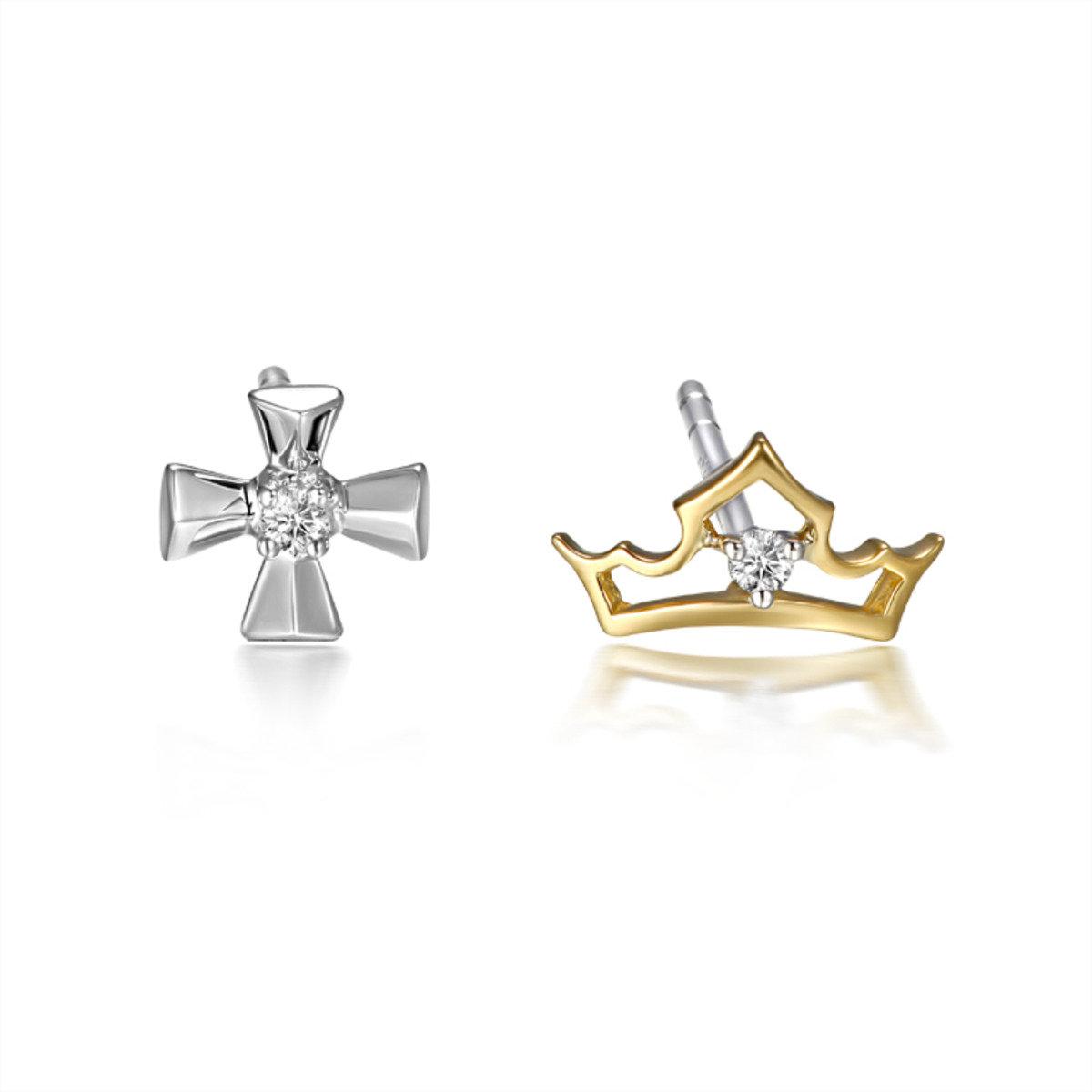 18K/ 750黃, 白兩色黃金迪士尼公主系列鑲天然鑽石耳環
