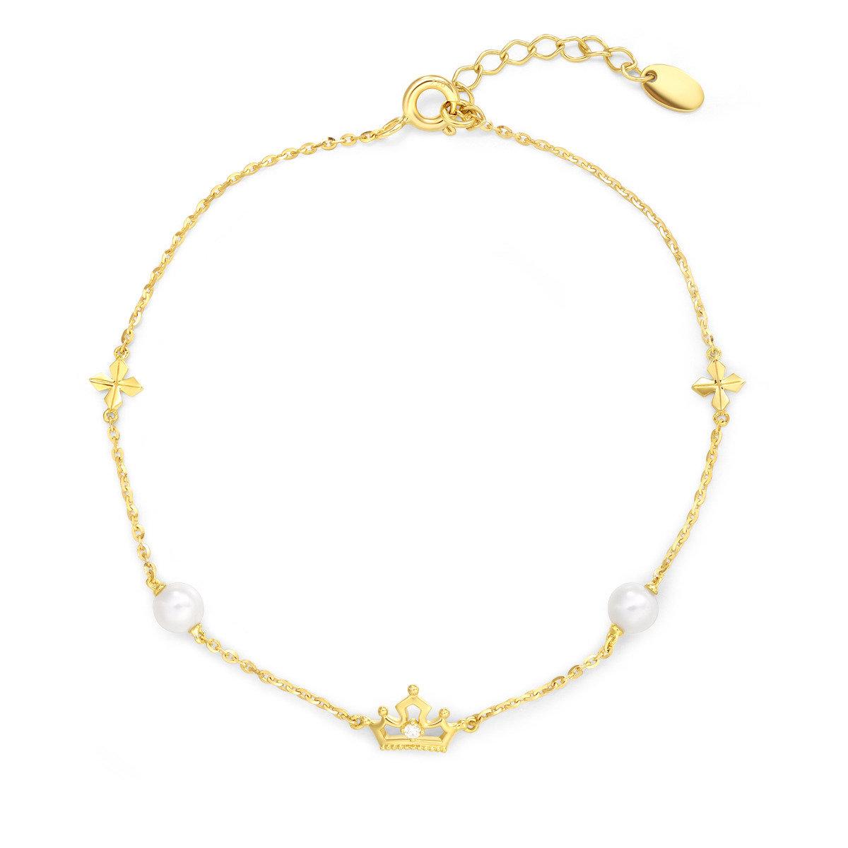 迪士尼公主系列18K/750黃金淡水養殖珍珠手鍊