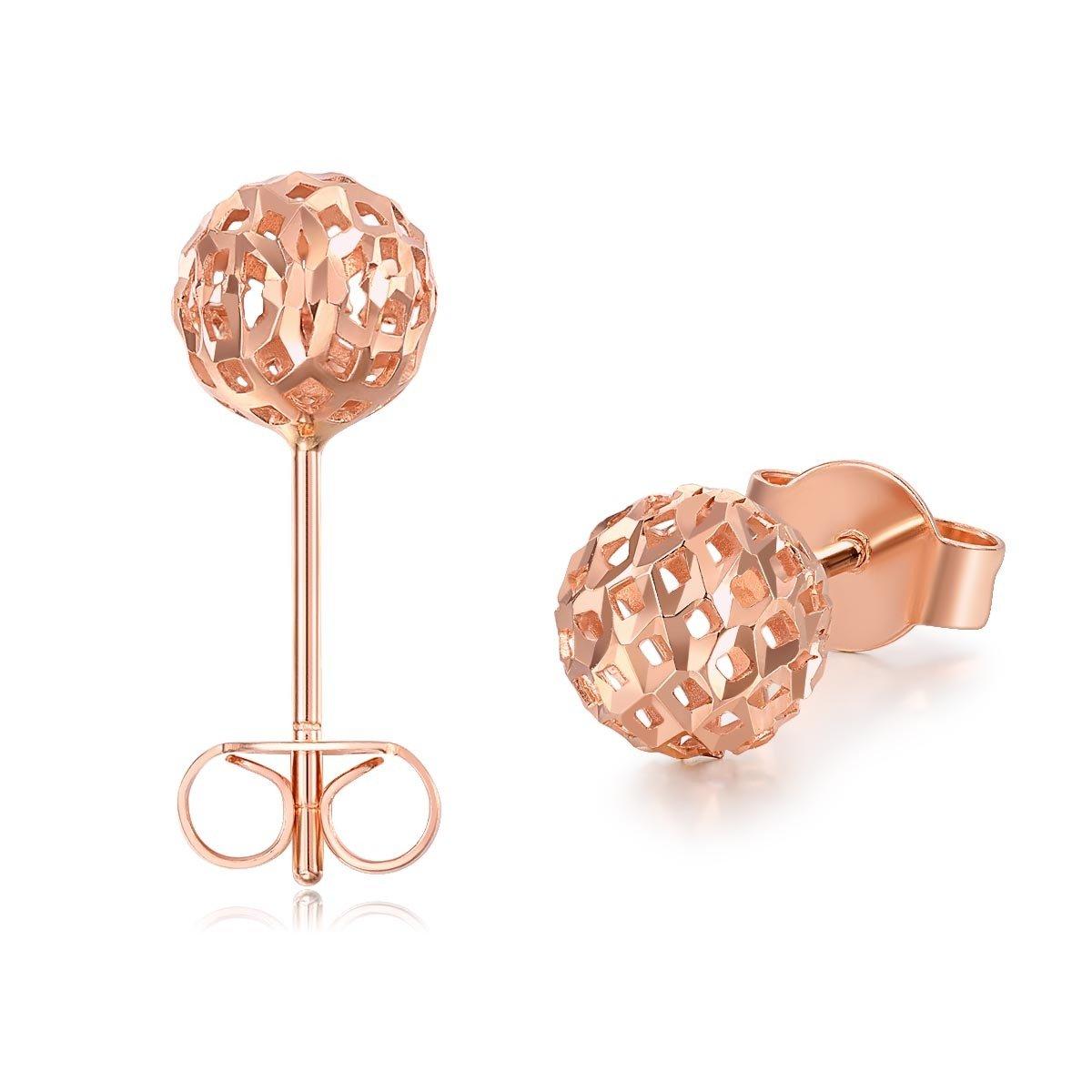 18K/750玫瑰色黃金耳環