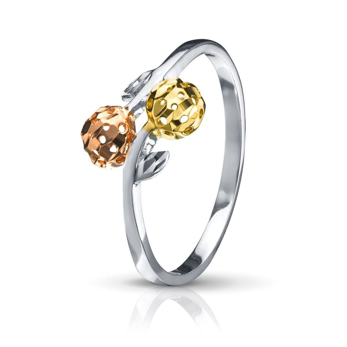 18K/750黃, 白, 玫瑰三色黃金戒指