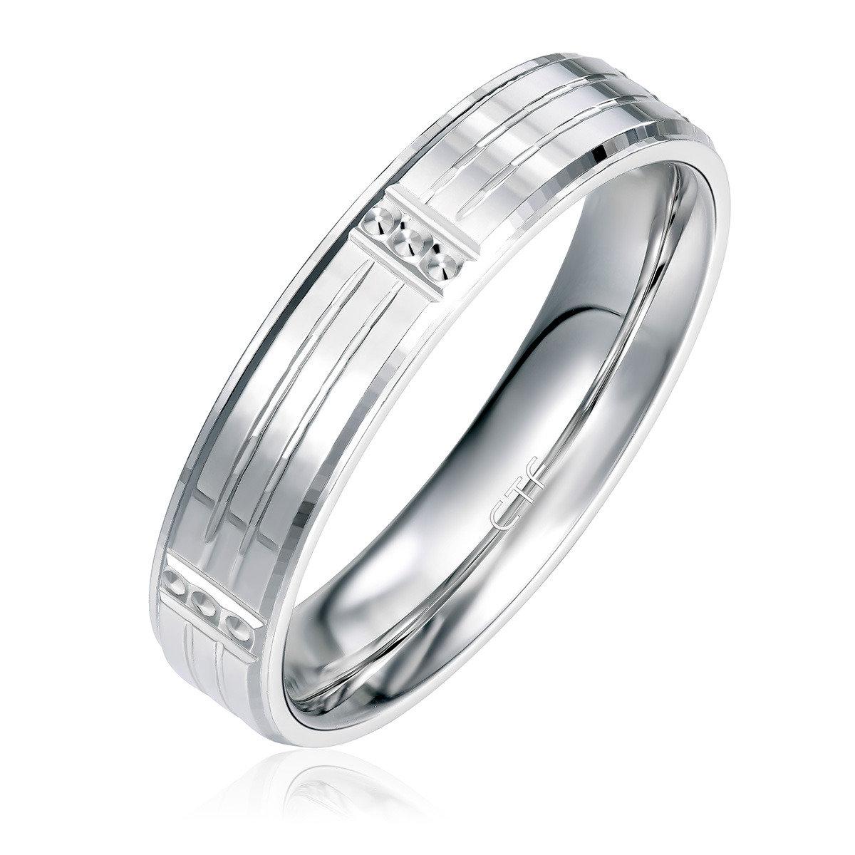 18K/750白色黃金對裝戒指
