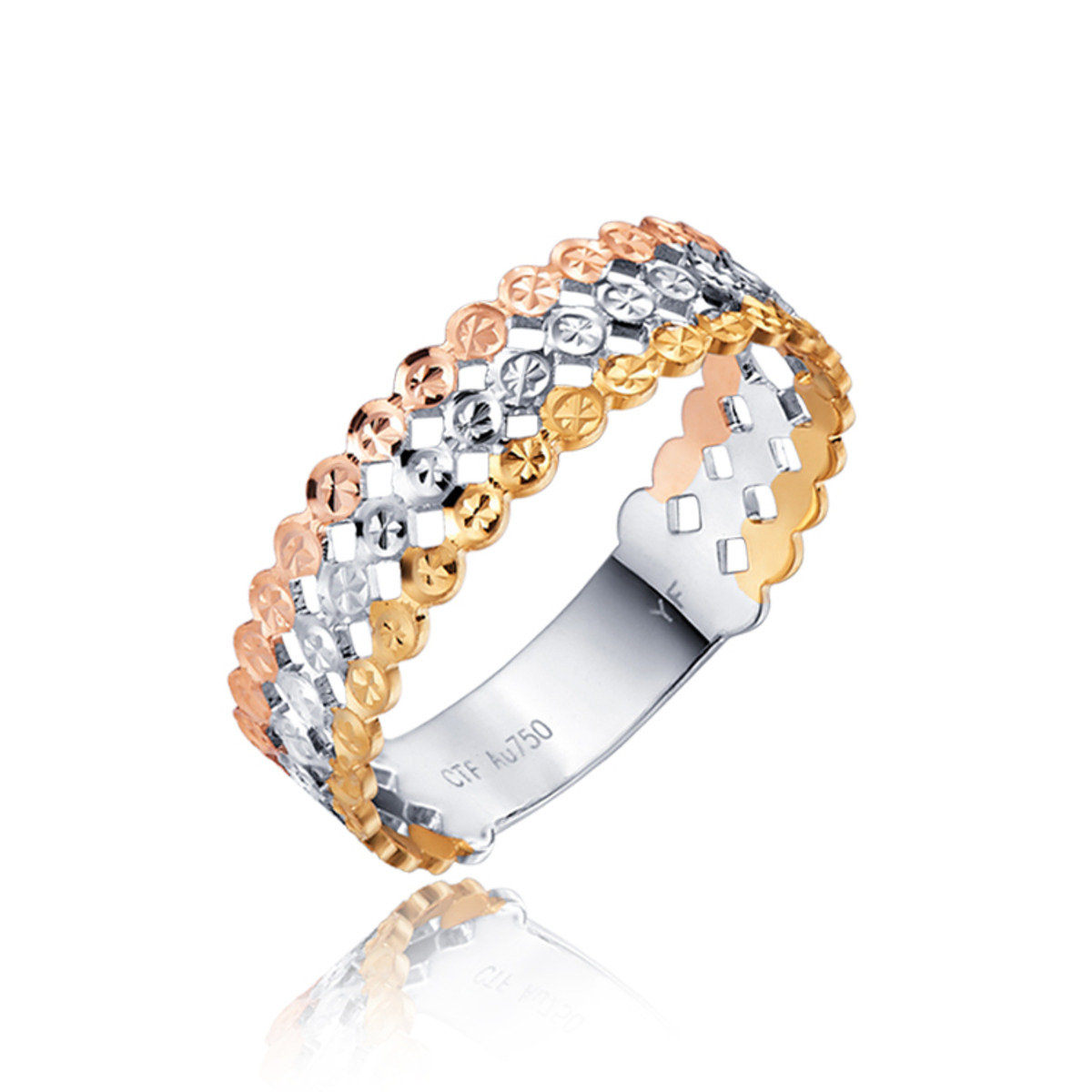 18K/750黃/白/玫瑰三色黃金戒指