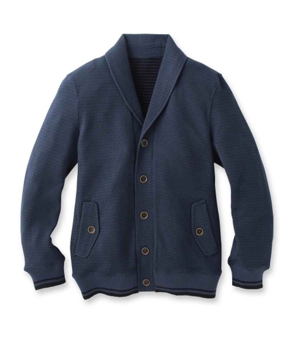 披肩領橫間紋外套