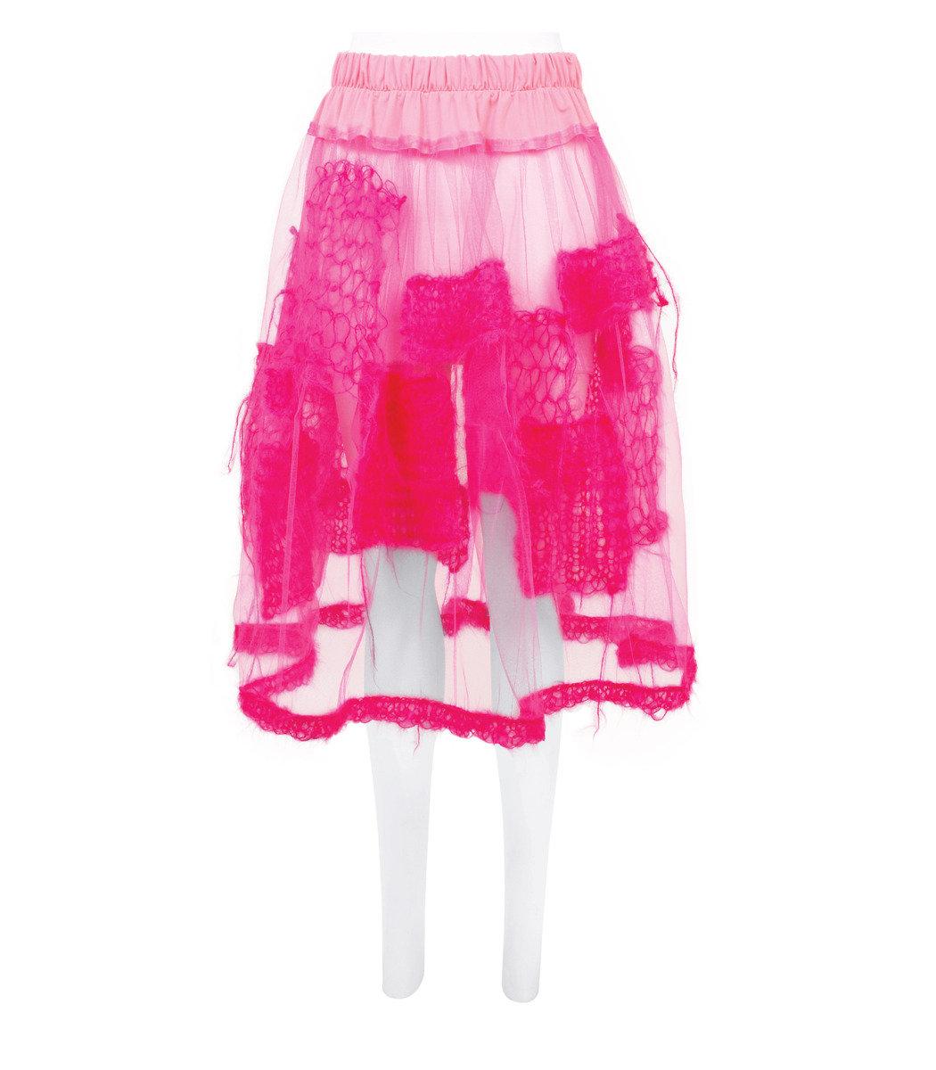 Patch薄紗半身裙