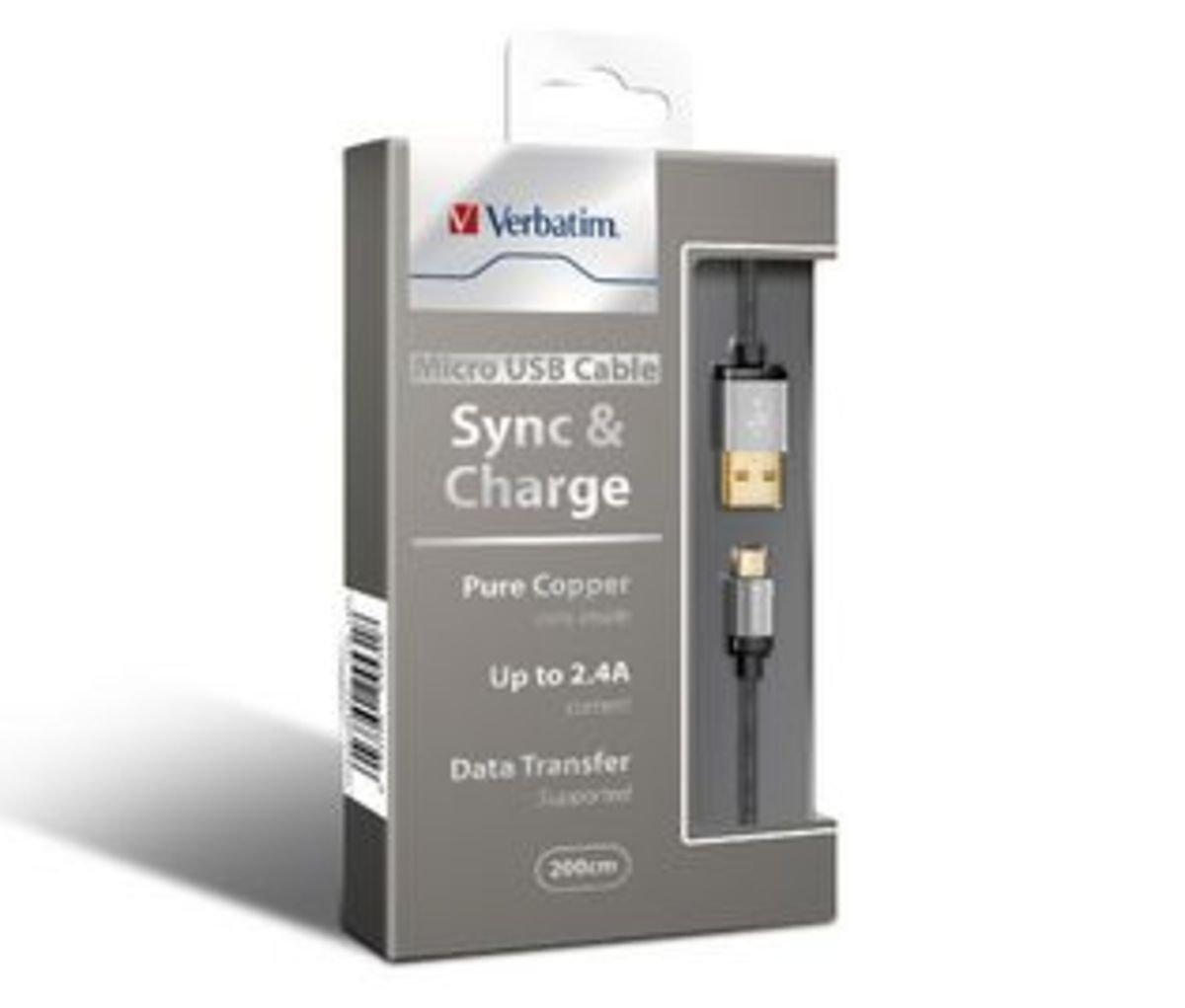 Verbatim 200cm Pure Copper Micro USB Cable 銀 64709
