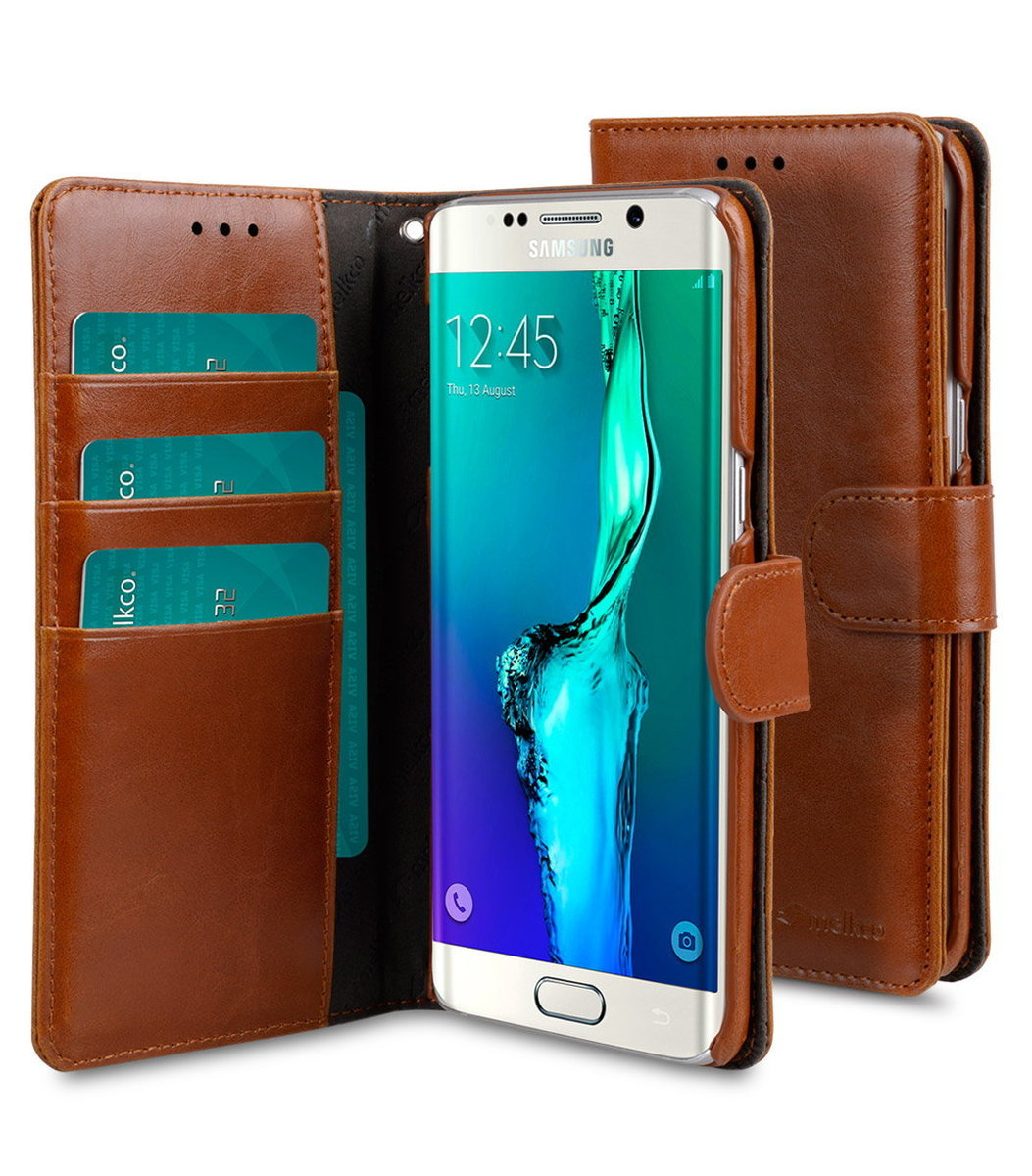 Samsung Galaxy S6 Edge Plus Wallet Book Type 人造皮手機套 - 啡色