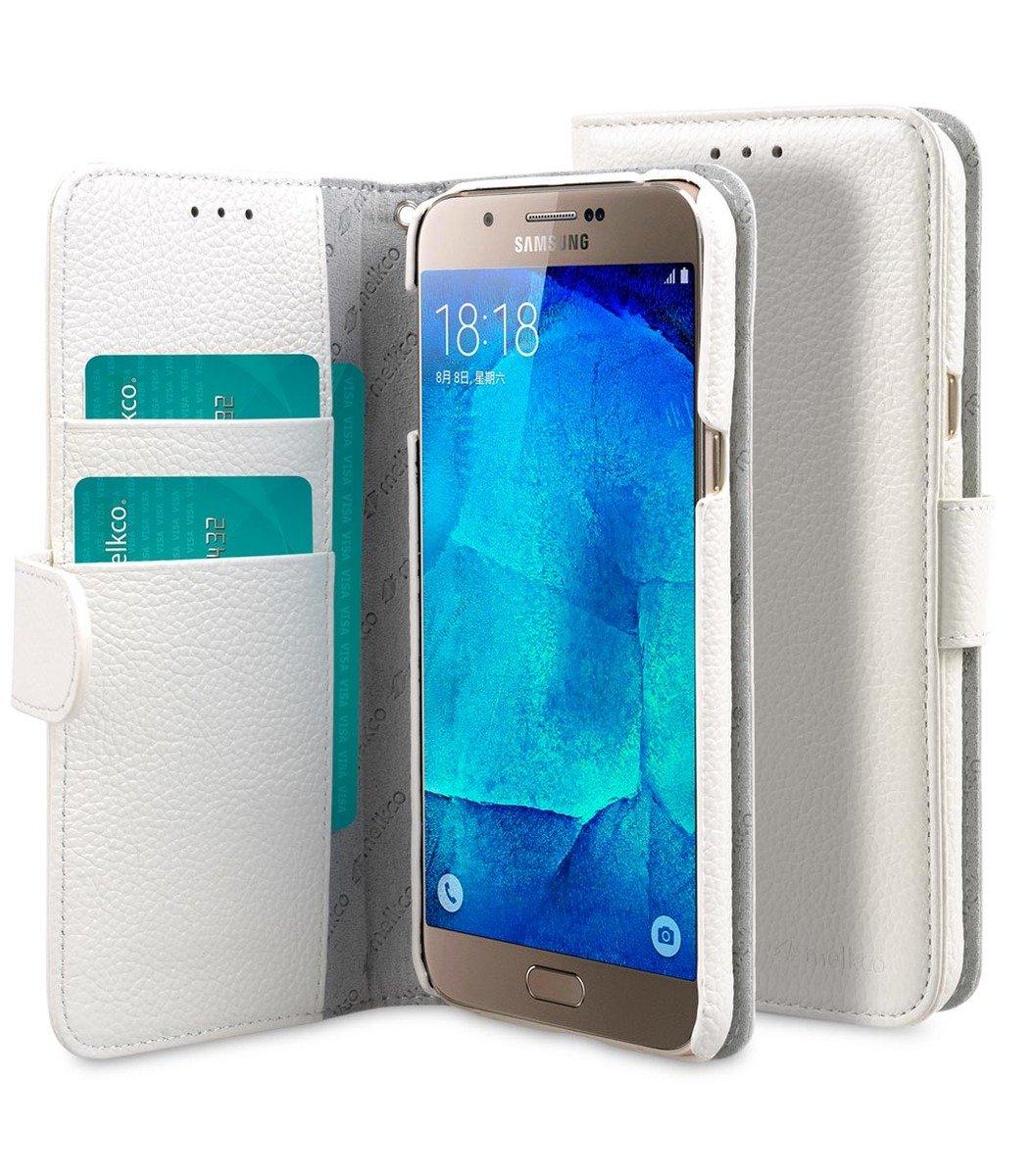 Samsung Galaxy A8 Wallet Book Type 高級真皮革手機套 - 白色荔枝紋