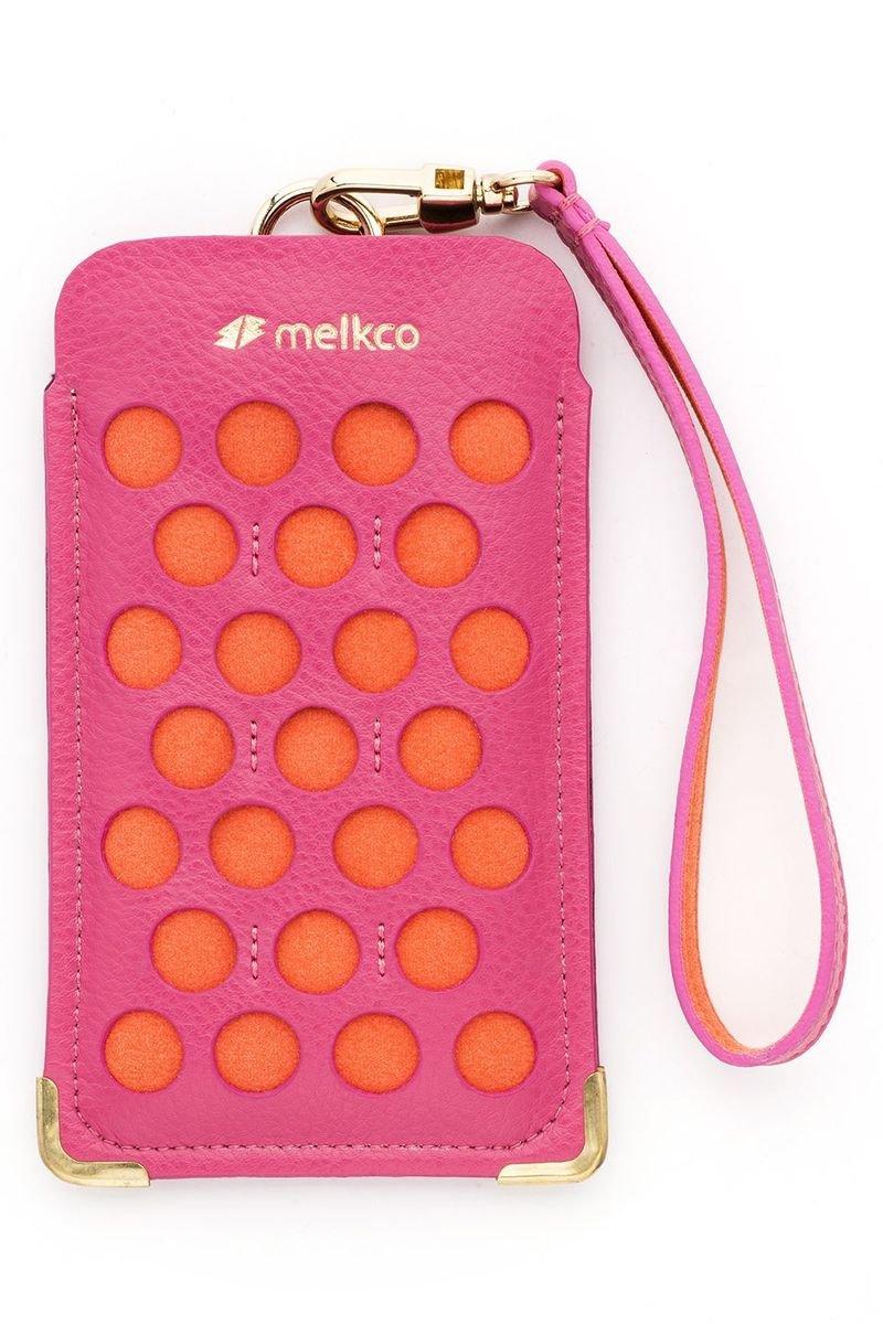 iPhone 5s / 5 Dotzz 系列 高級真皮時尚手機套(粉红色/橙色)
