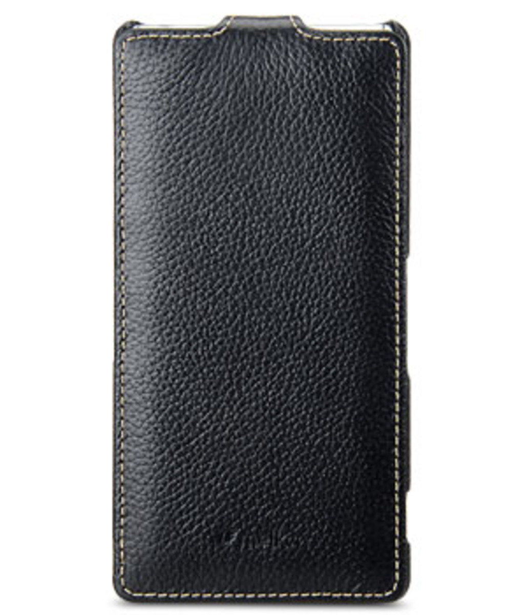 Sony Xperia Z3 D6653  Jacka Type 高級真皮革手機套 (黑色荔枝條紋)