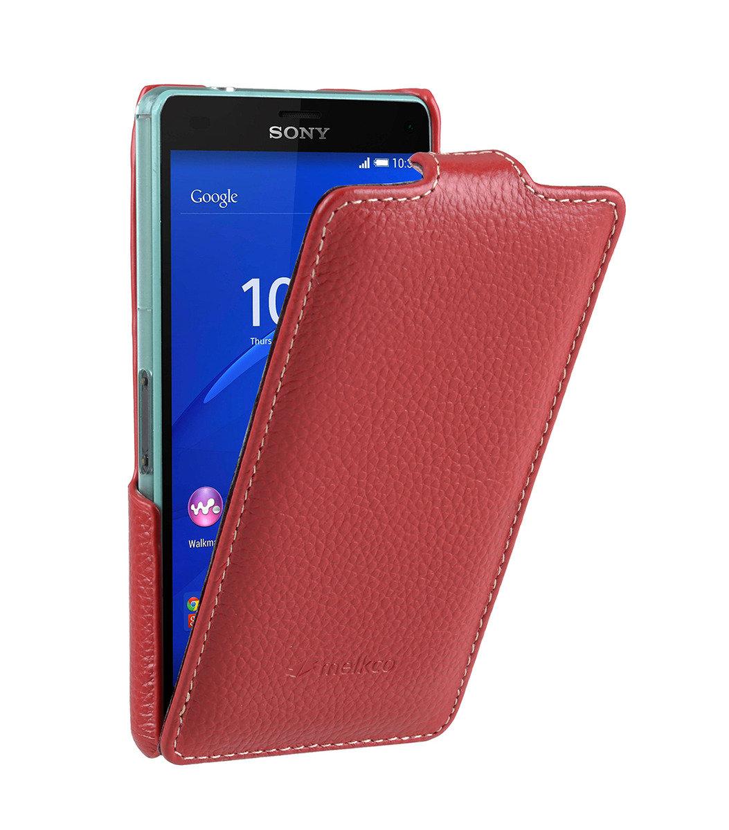 Sony Xperia Z3 Compact / Z3 Mini Jacka Type 高級真皮革手機套 (紅色荔枝條紋)