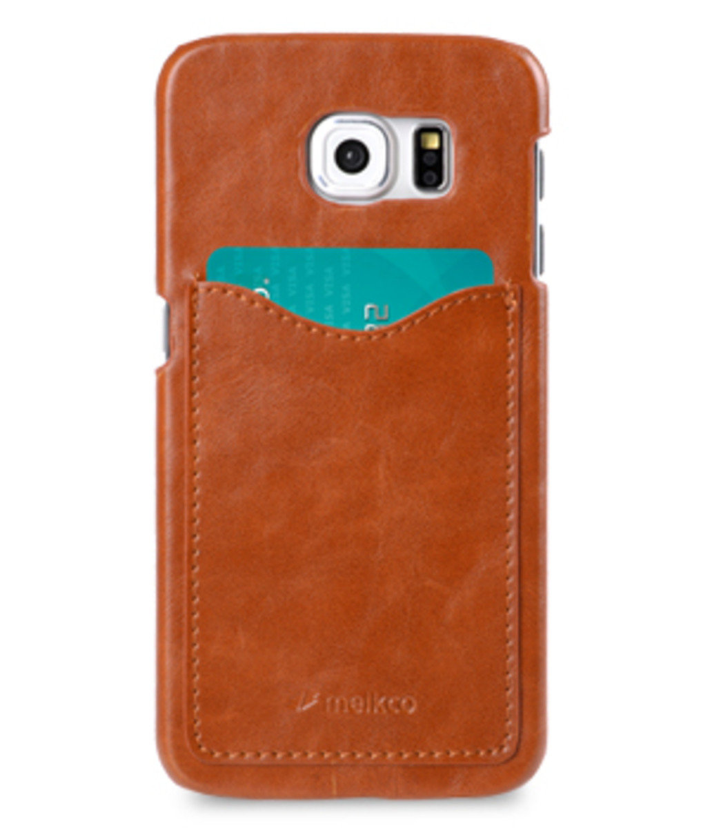 Samsung Galaxy S6 Card Slot Back Cover(ver.2)人造皮手機殼(棕色)