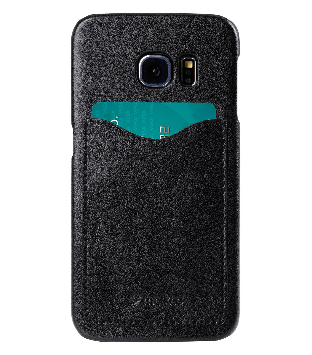Samsung Galaxy S6 Edge Card Slot Back Cover人造皮手機殼(ver.2)(黑色)
