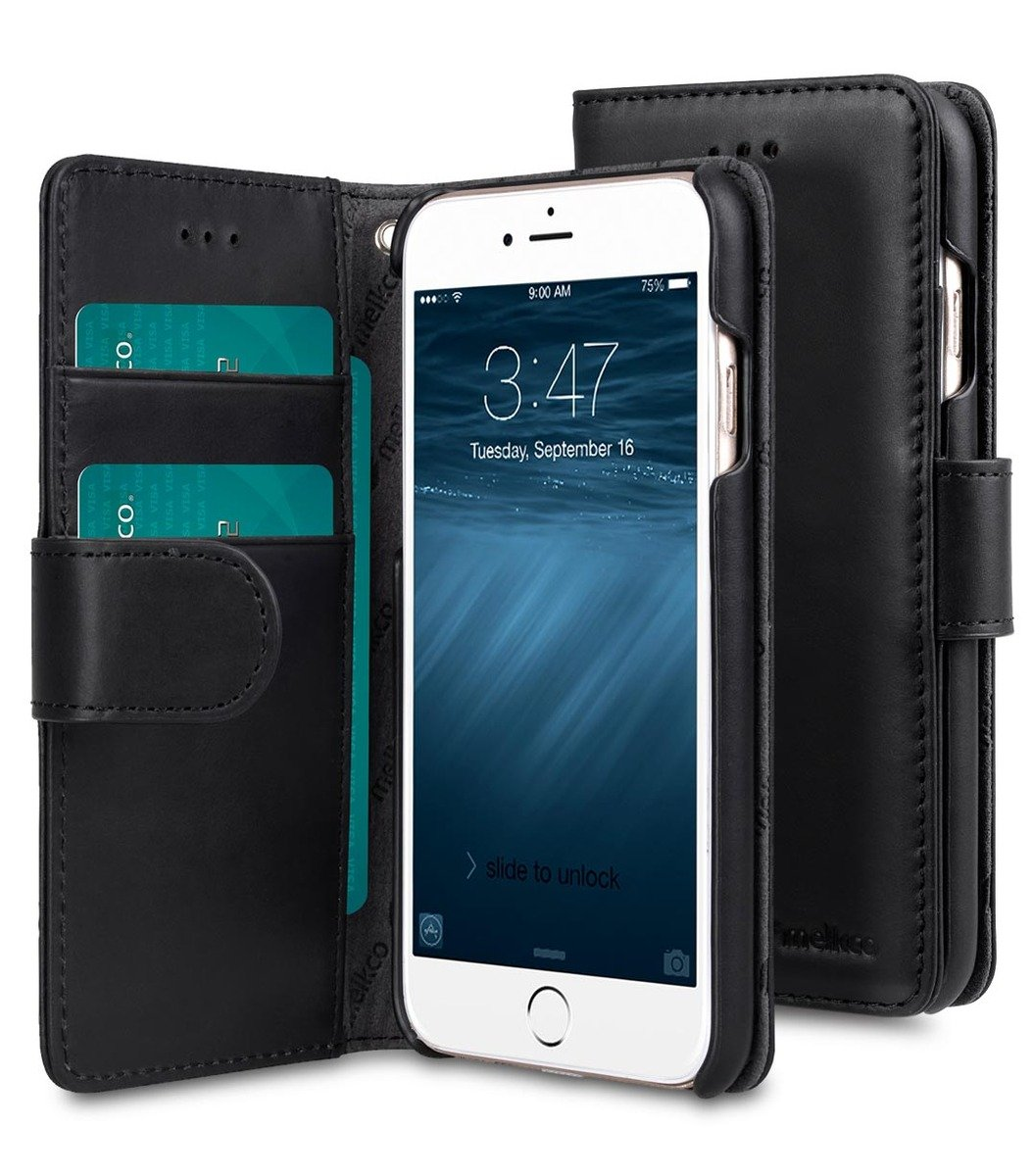 Apple iPhone 6s / 6 Wallet Book Type 高級真皮革手機套 - 黑色