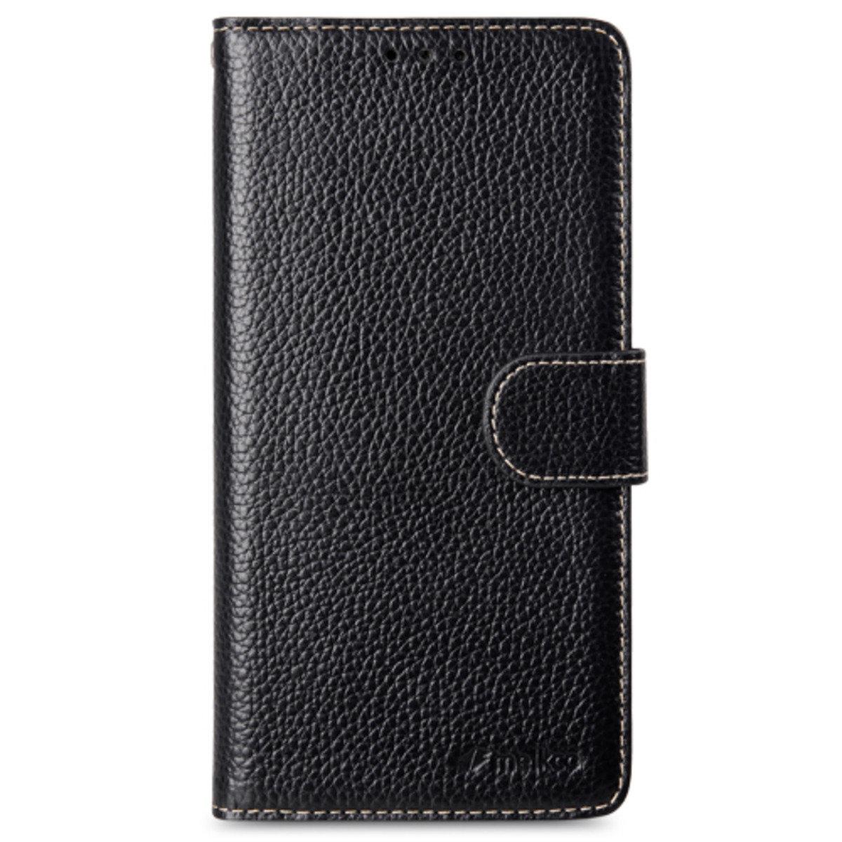 Samsung Galaxy S6 Edge Plus Wallet Book Type 高級真皮革手機套 - 黑色荔枝紋