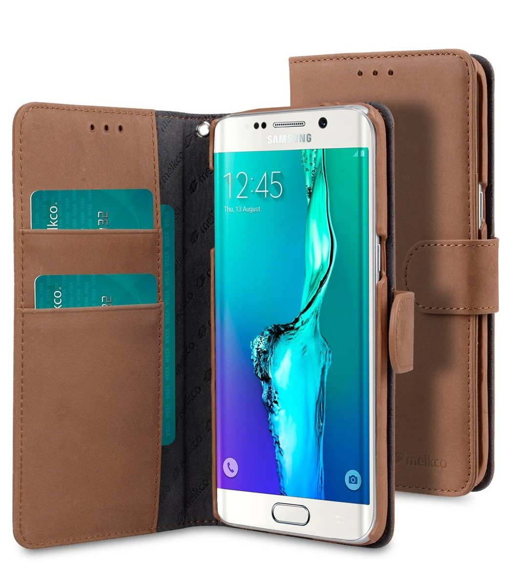 Samsung Galaxy S6 Edge Plus Wallet Book Type 高級真皮革手機套 - 磨沙啡色