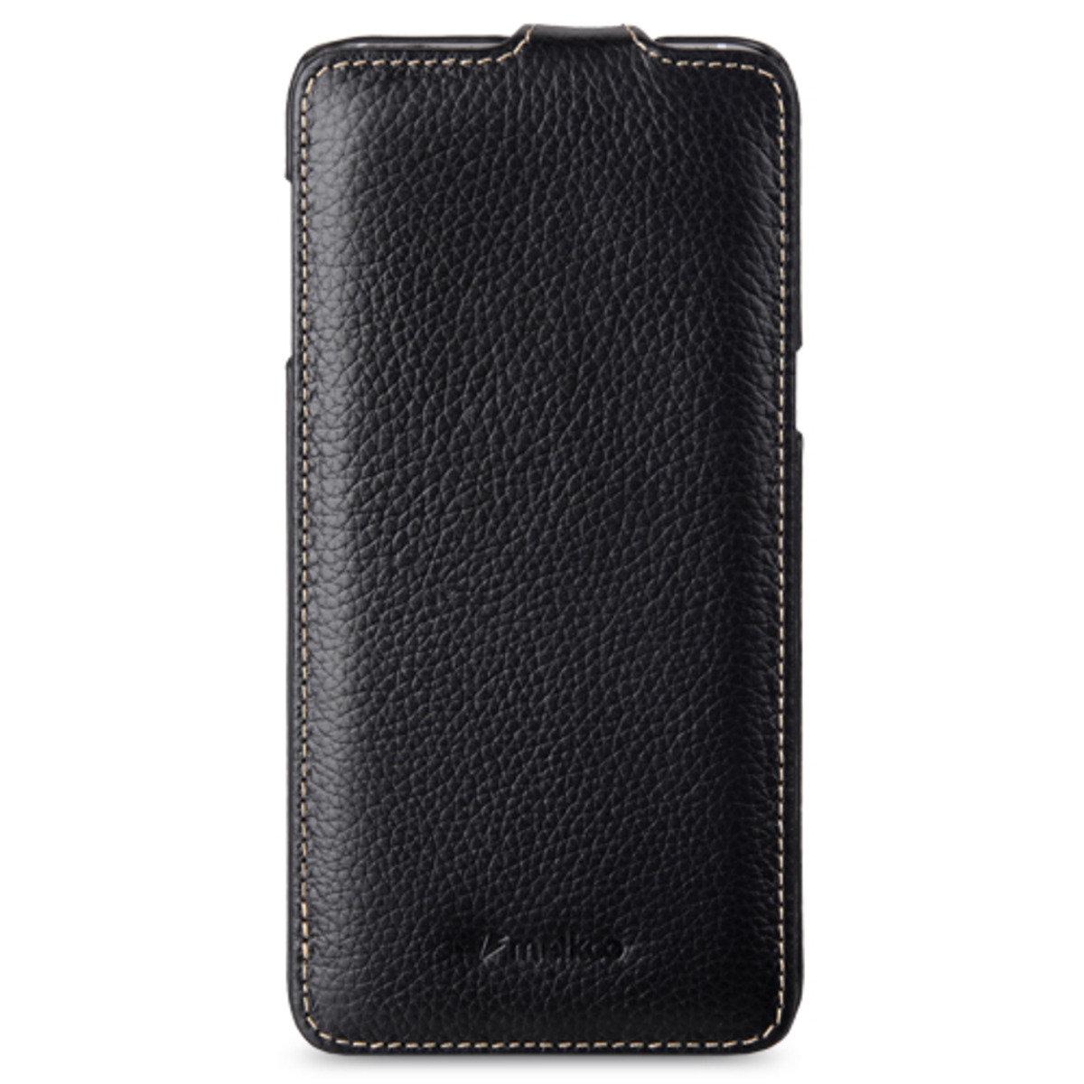 Samsung Galaxy S6 Edge Plus Jacka Type 高級真皮革手機套 - 黑色荔枝紋
