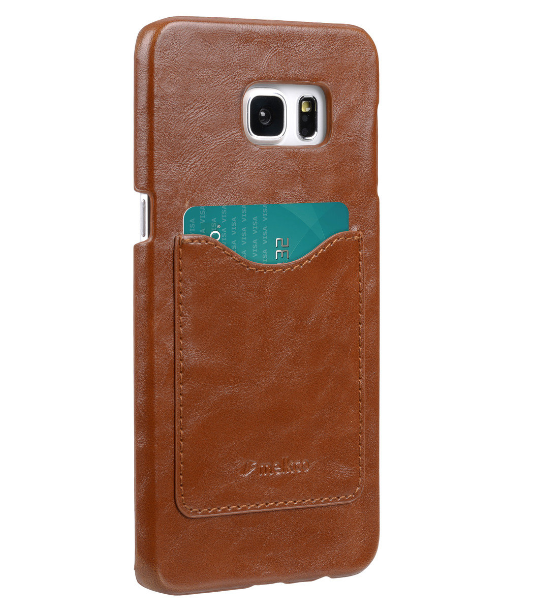 Samsung Galaxy S6 Edge Plus Card Slot Back Cover人造皮手機套 - 啡色