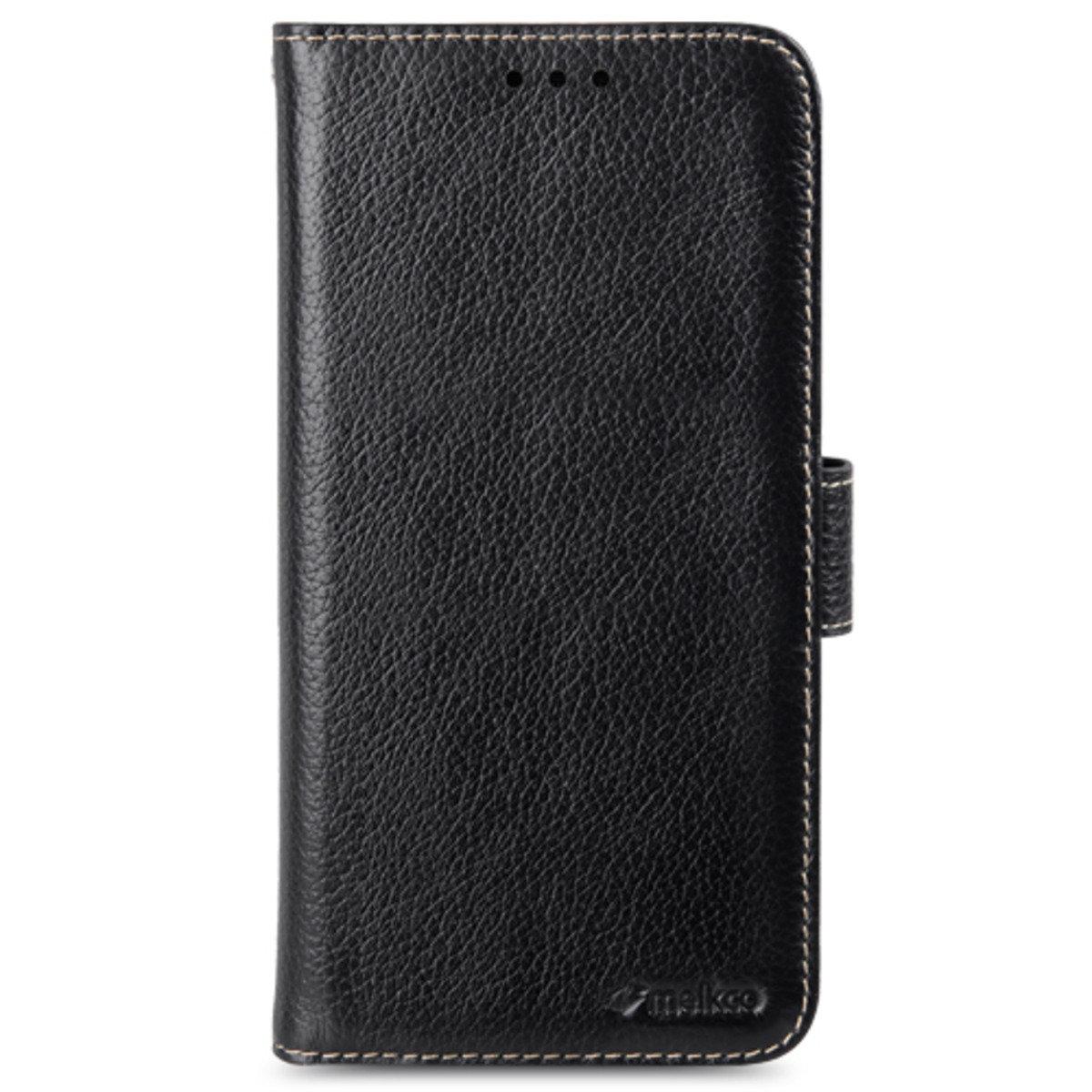 Samsung Galaxy A8 Wallet Book Type 高級真皮革手機套 - 黑色荔枝紋