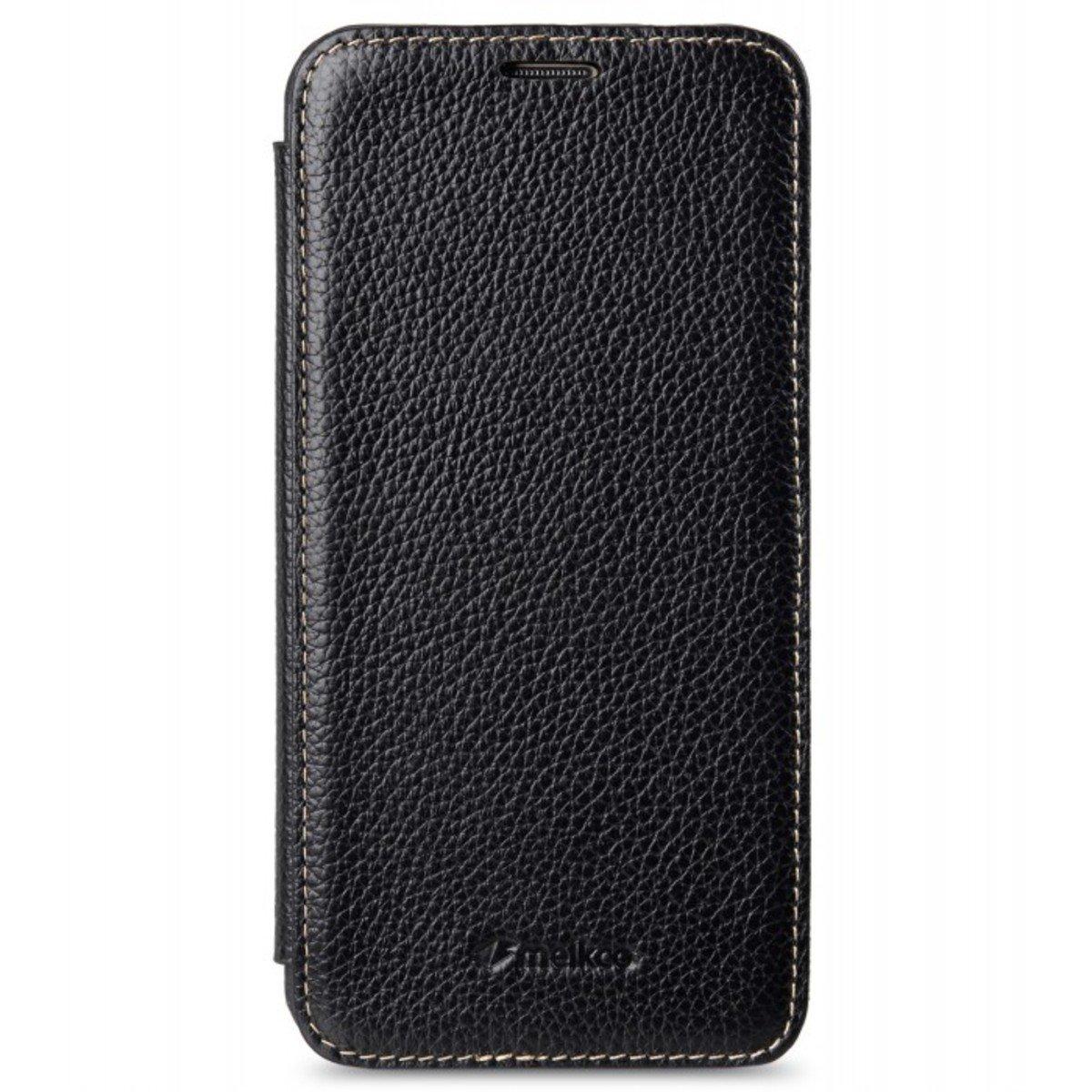 Samsung Galaxy A8 Face Cover Book Type 高級真皮革手機套 - 黑色荔枝紋
