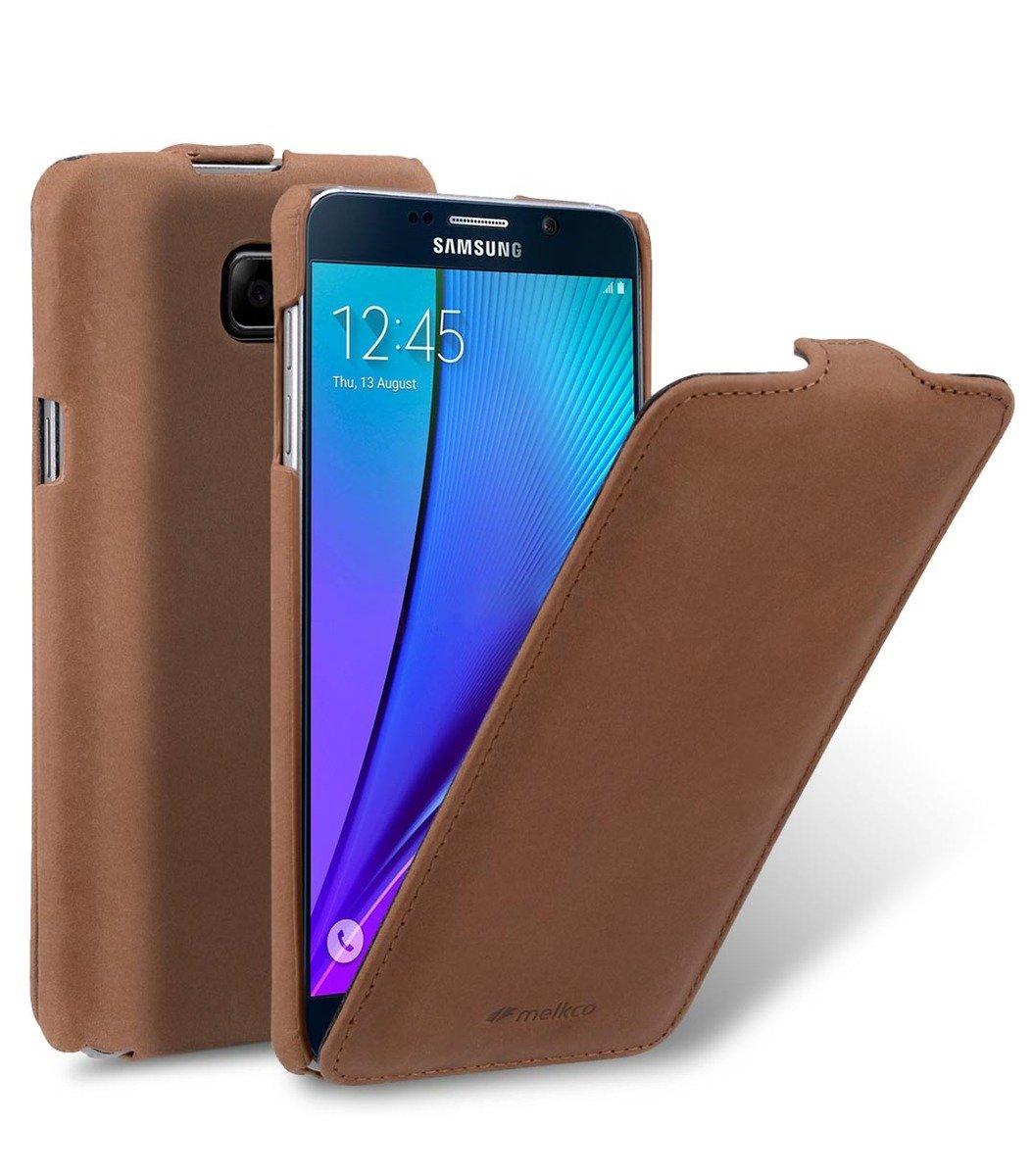 Samsung Galaxy Note 5 Jacka Type 高級真皮革手機套 - 磨沙啡色