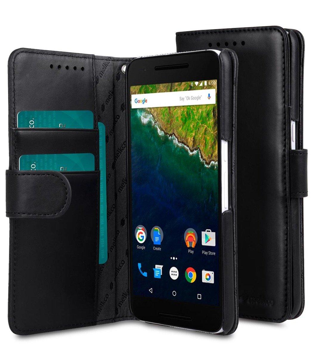 Huawei Nexus 6P Wallet Book Type高級真皮手機套-瘋馬黑色