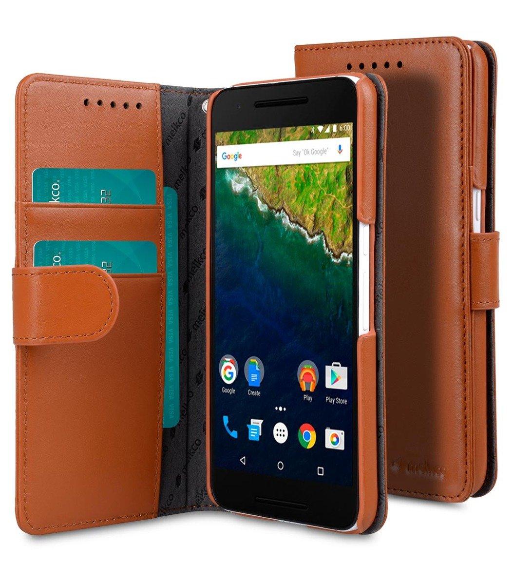 Huawei Nexus 6P Wallet Book Type高級真皮手機套-瘋馬啡色