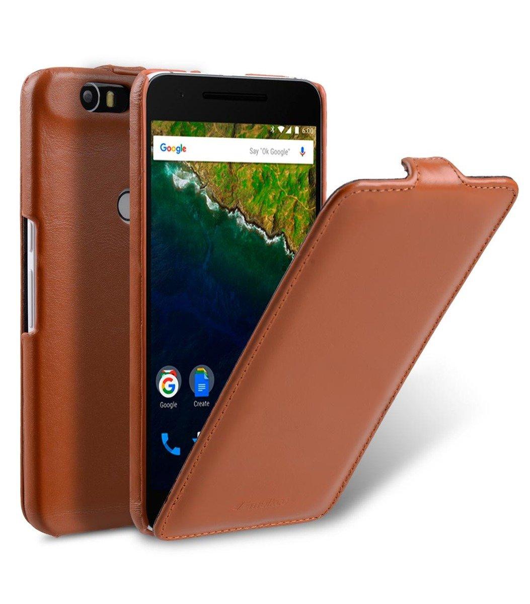 Huawei Nexus 6P Jacka Type高級真皮手機套-瘋馬啡色
