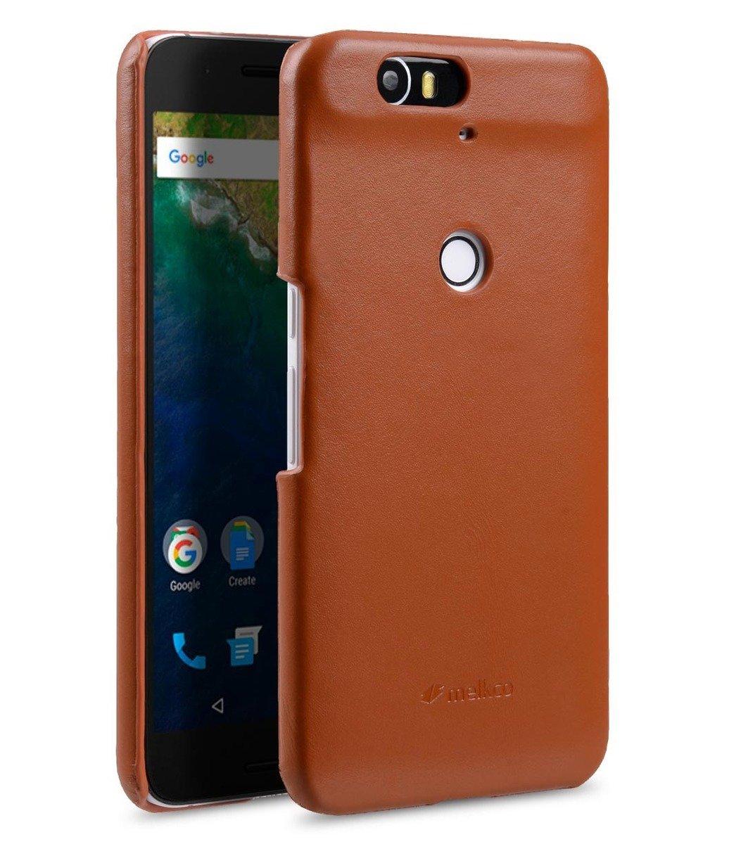 Huawei Nexus 6P高級真皮手機背殼套-瘋馬啡色