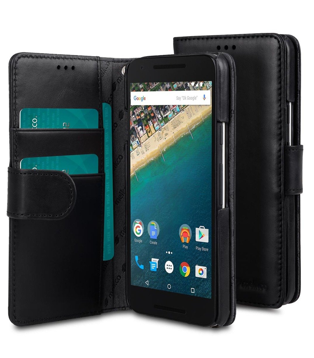 LG Nexus 5X Wallet Book Type高級真皮手機皮套-瘋馬黑色