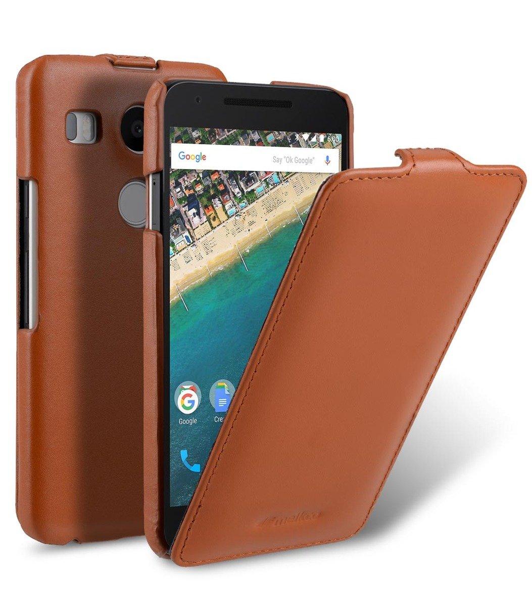 LG Nexus 5X Jacka Type高級真皮手機皮套-瘋馬啡色