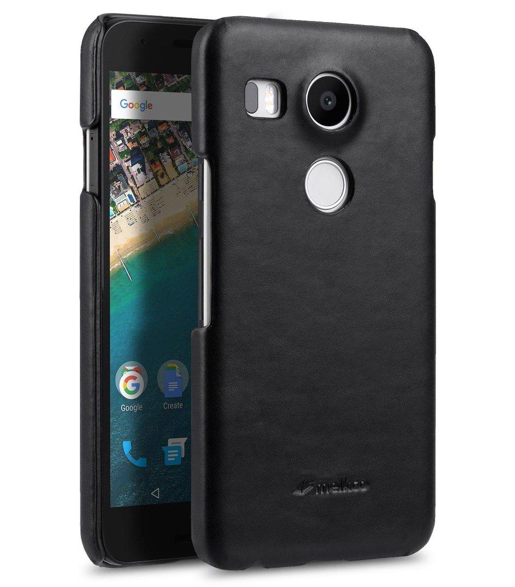 LG Nexus 5X高級真皮手機背殼套-瘋馬黑色