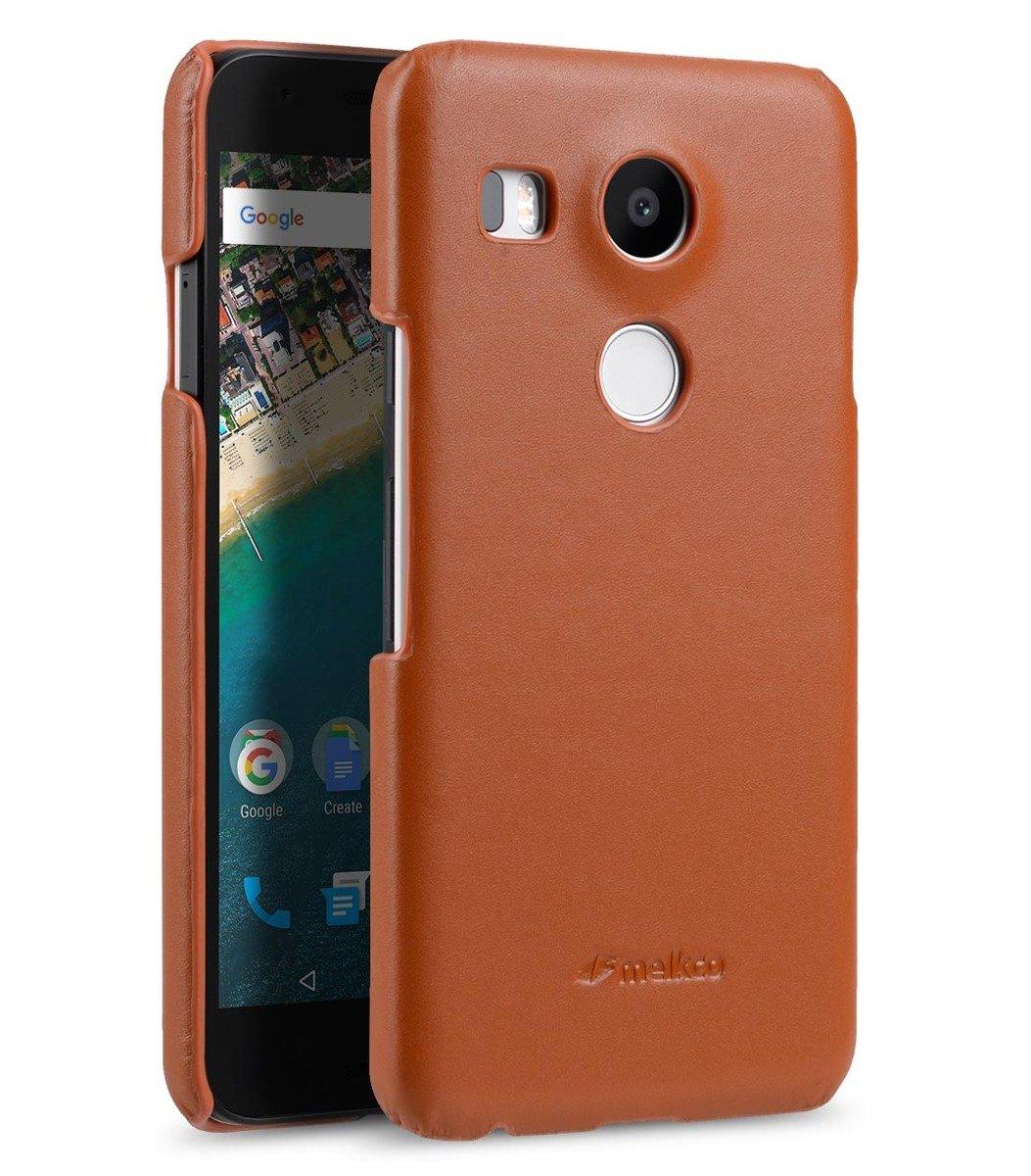 LG Nexus 5X高級真皮手機背殼套-瘋馬啡色