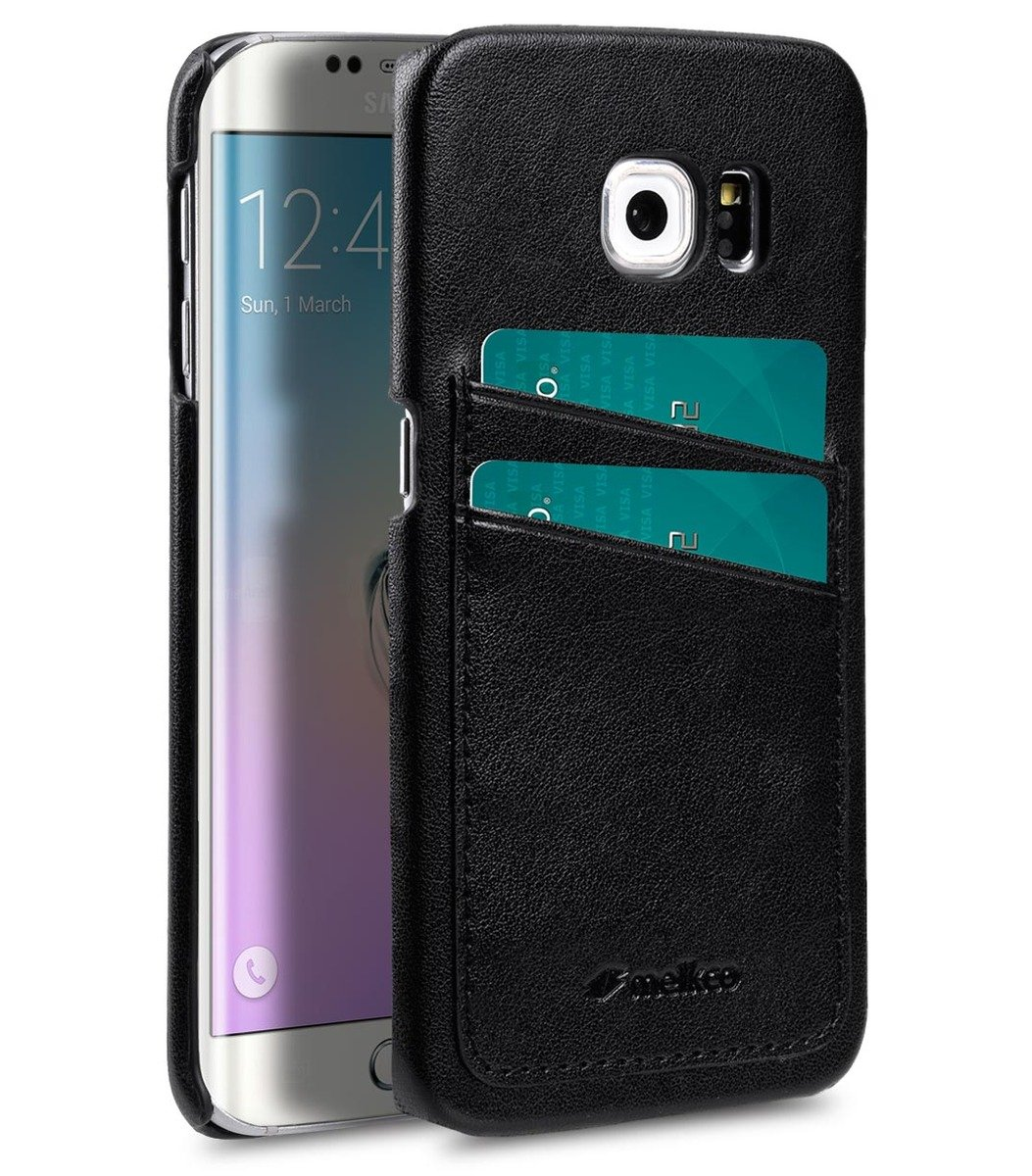Samsung Galaxy S6 Edge(Dual card slots)人造皮革雙卡槽空位手機殼-黑色