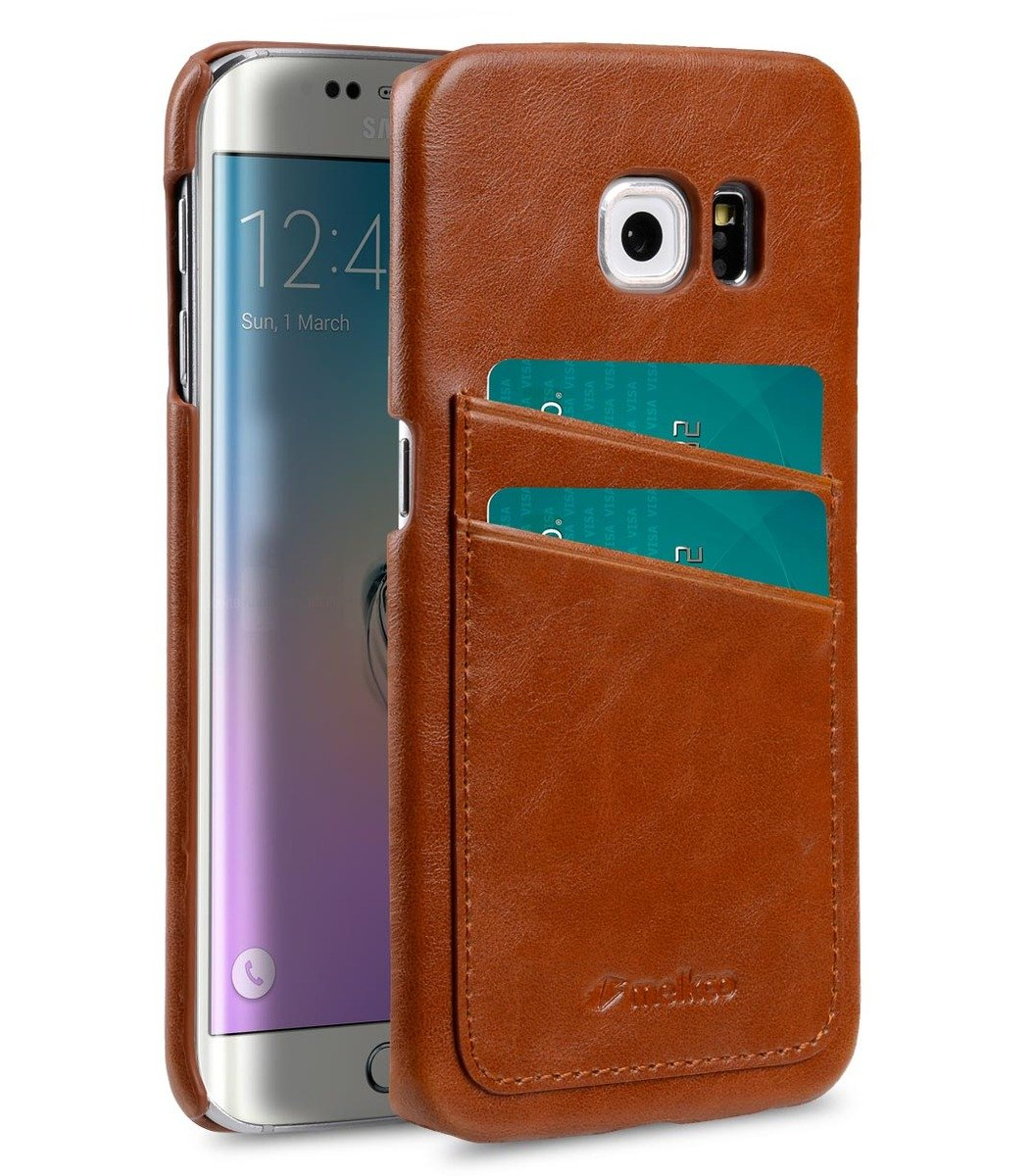 Samsung Galaxy S6 Edge(Dual card slots)人造皮革雙卡槽空位手機殼-啡色