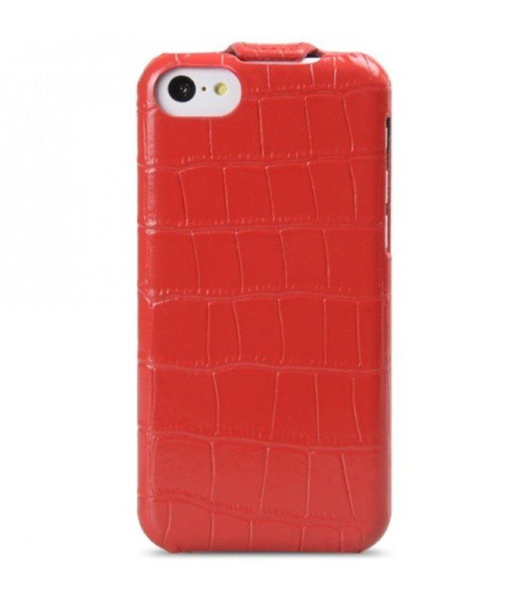 Melkco 高級皮革手機套 Apple iphone Mini-鱷魚紋紅色