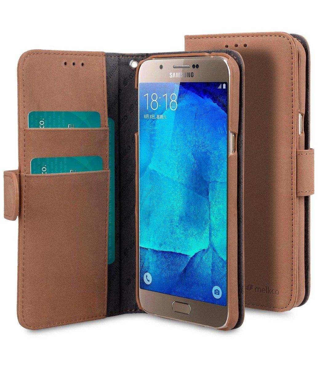 Samsung Galaxy A8 Wallet Book Type 高級真皮革手機套 - 磨沙啡色