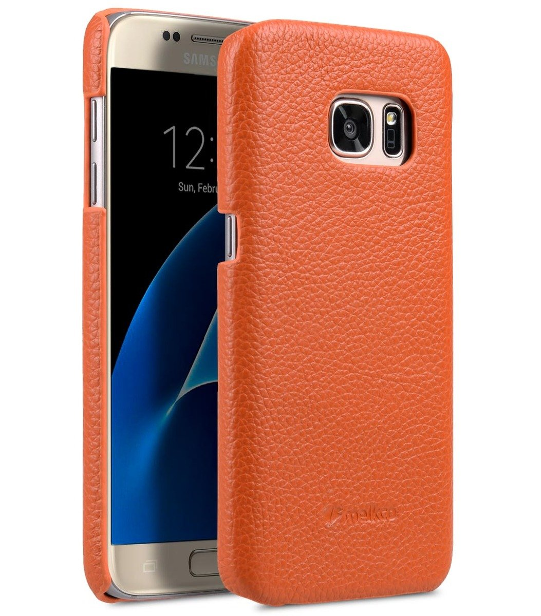 Samsung Galaxy S7 荔枝紋真皮背殼 (橙色)