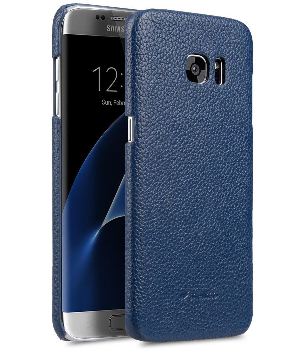 Samsung Galaxy S7  Edge 荔枝紋真皮背殼 (深藍色)
