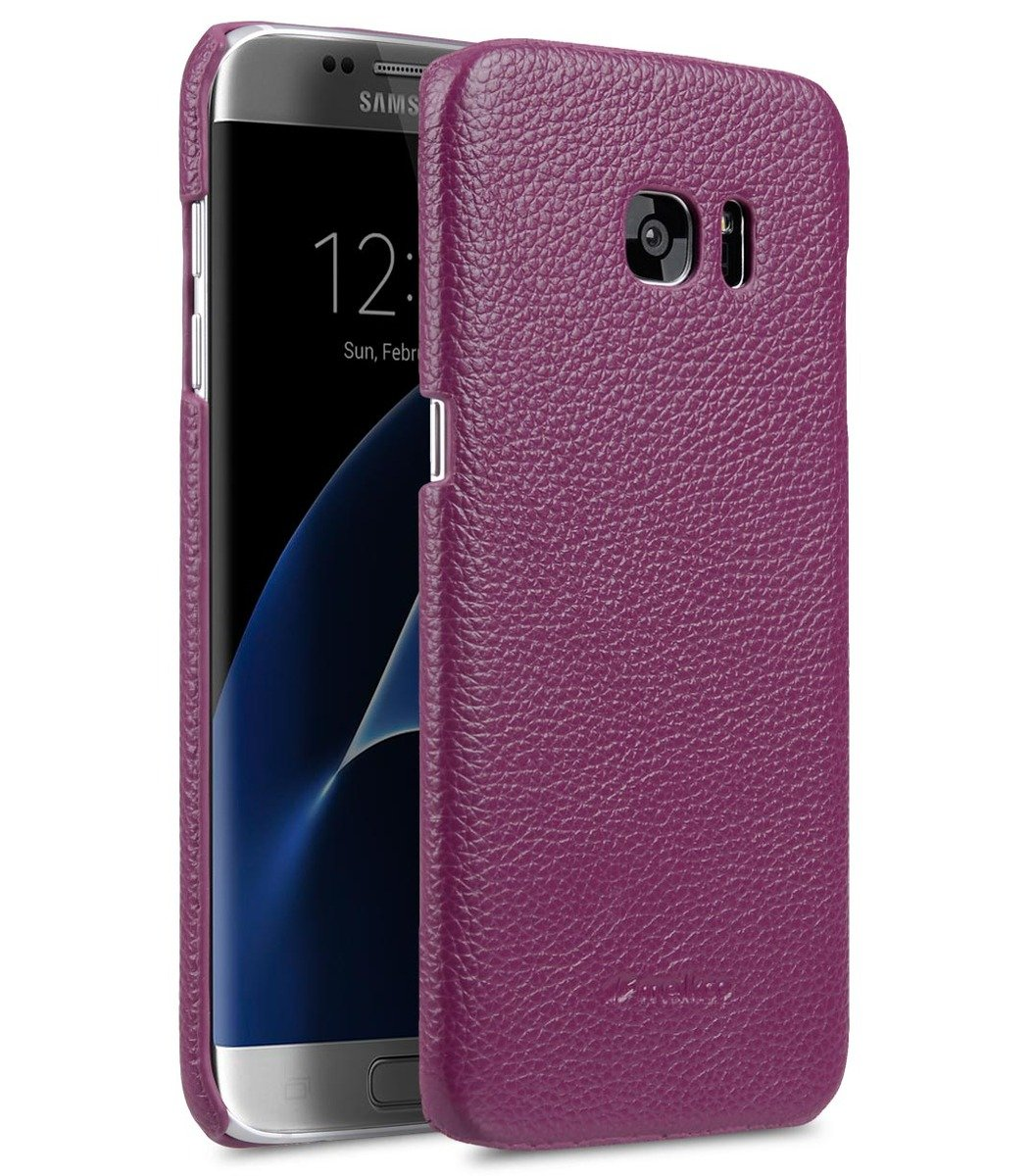 Samsung Galaxy S7  Edge 荔枝紋真皮背殼 (紫色)