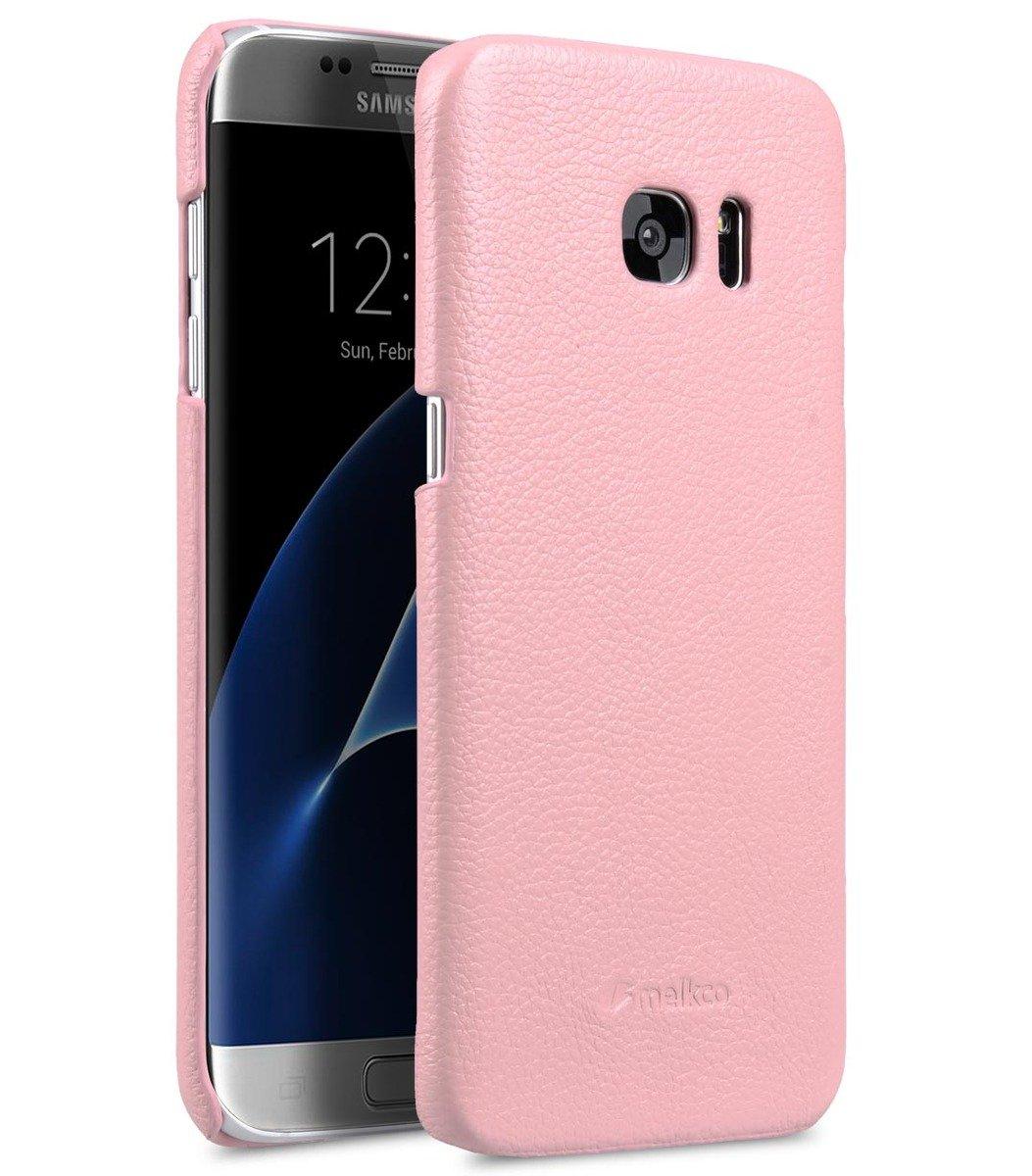 Samsung Galaxy S7  Edge 荔枝紋真皮背殼 (粉紅色)