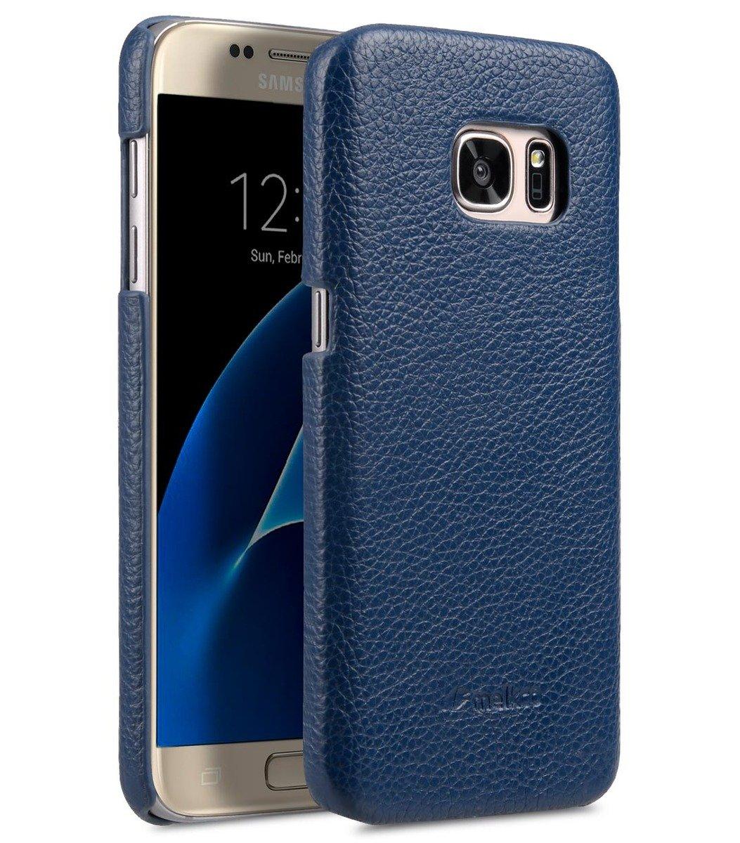 Samsung Galaxy S7 荔枝紋真皮背殼 (深藍色)