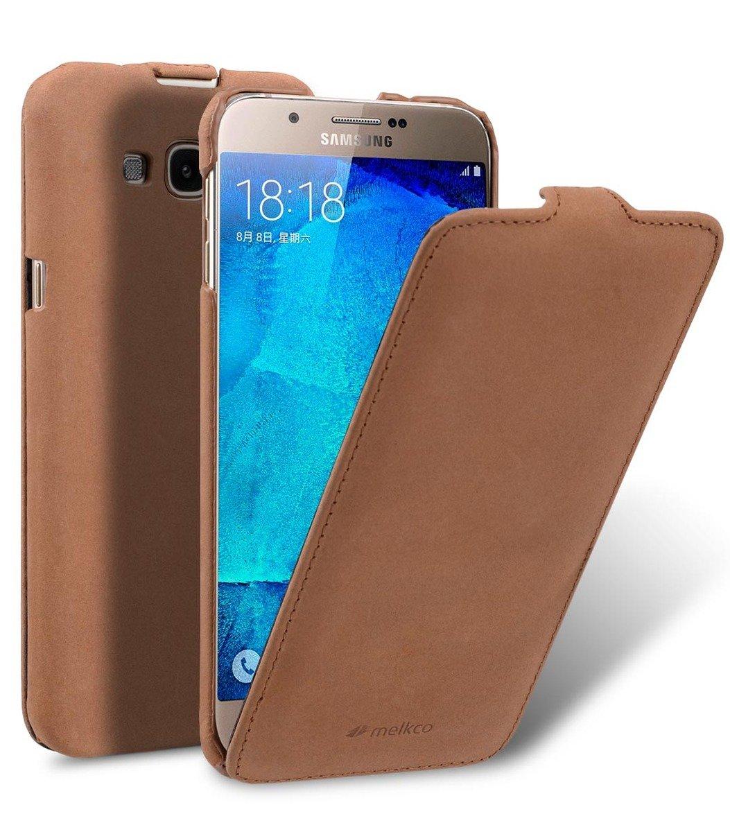 Samsung Galaxy A8 Jacka Type 高級真皮革手機套 - 磨沙啡色