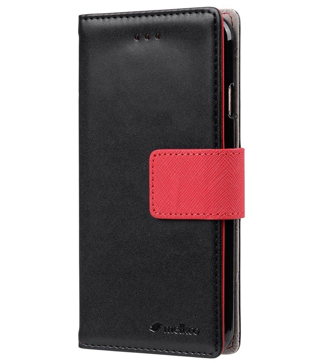 Apple iPhone 6s Plus / 6 Plus Pure系列高級仿皮手機套 - 黑色/紅色