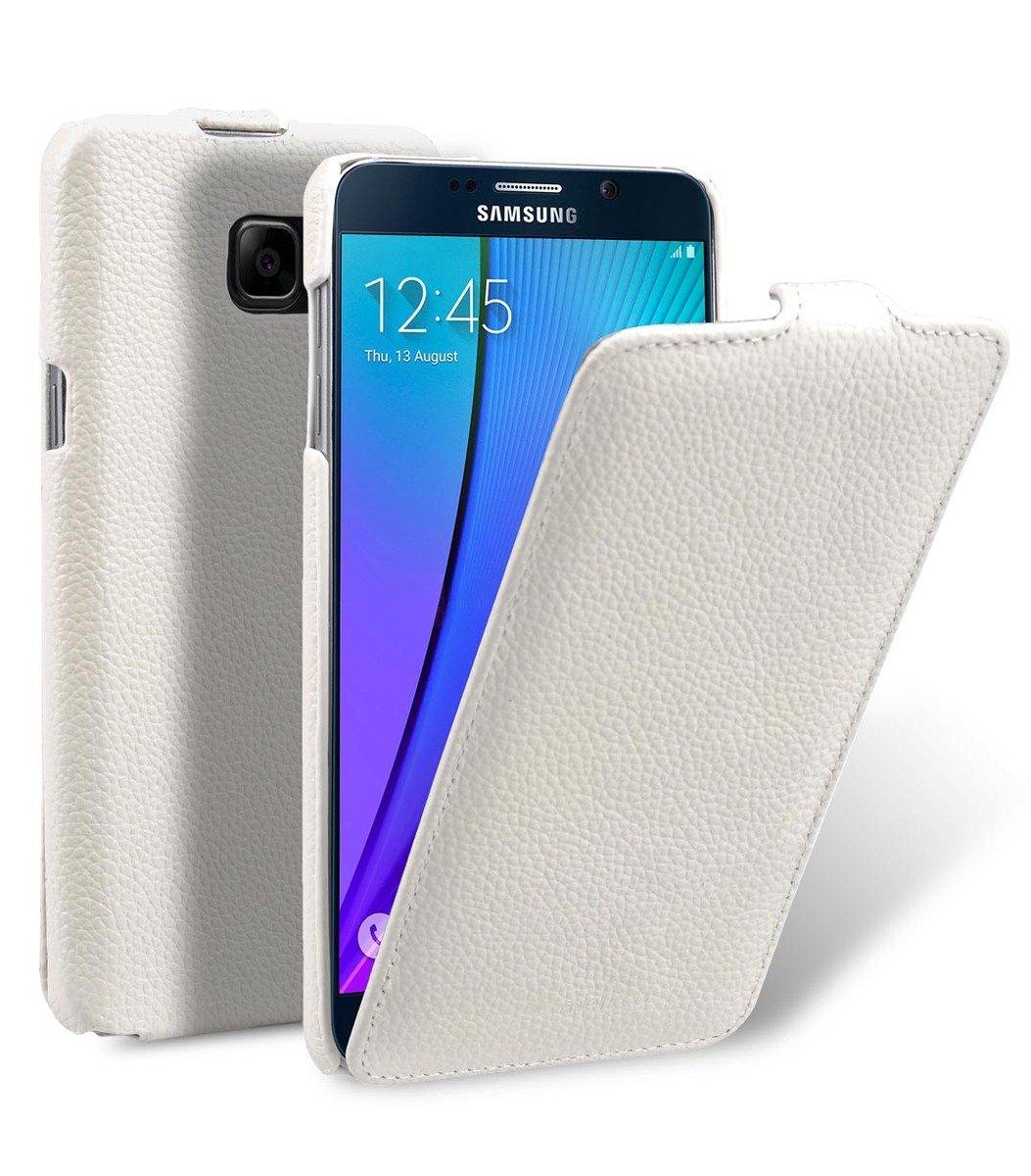 Samsung Galaxy Note 5 Jacka Type 高級真皮革手機套 - 白色荔枝紋