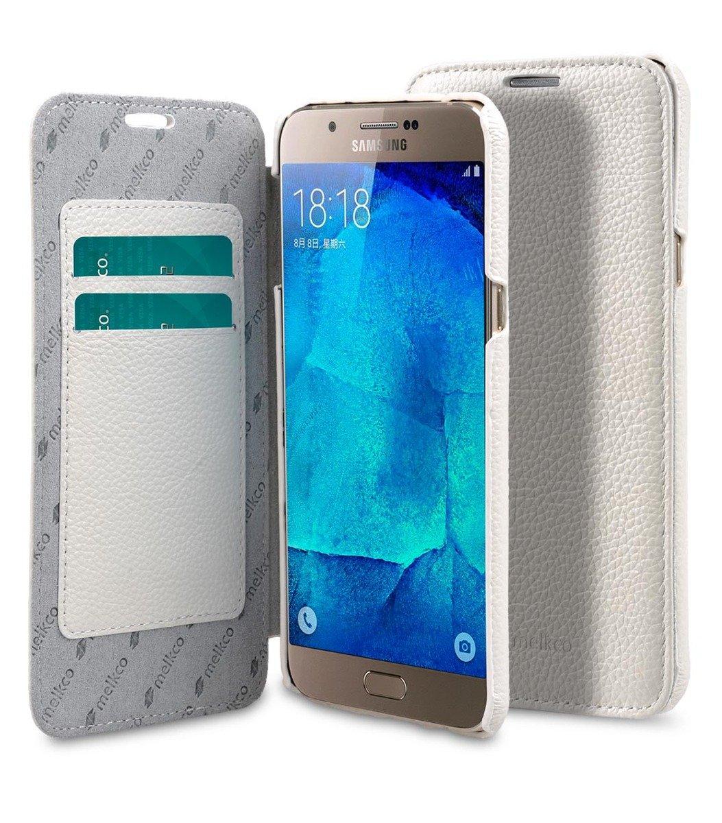 Samsung Galaxy A8 Face Cover Book Type 高級真皮革手機套 - 白色荔枝紋