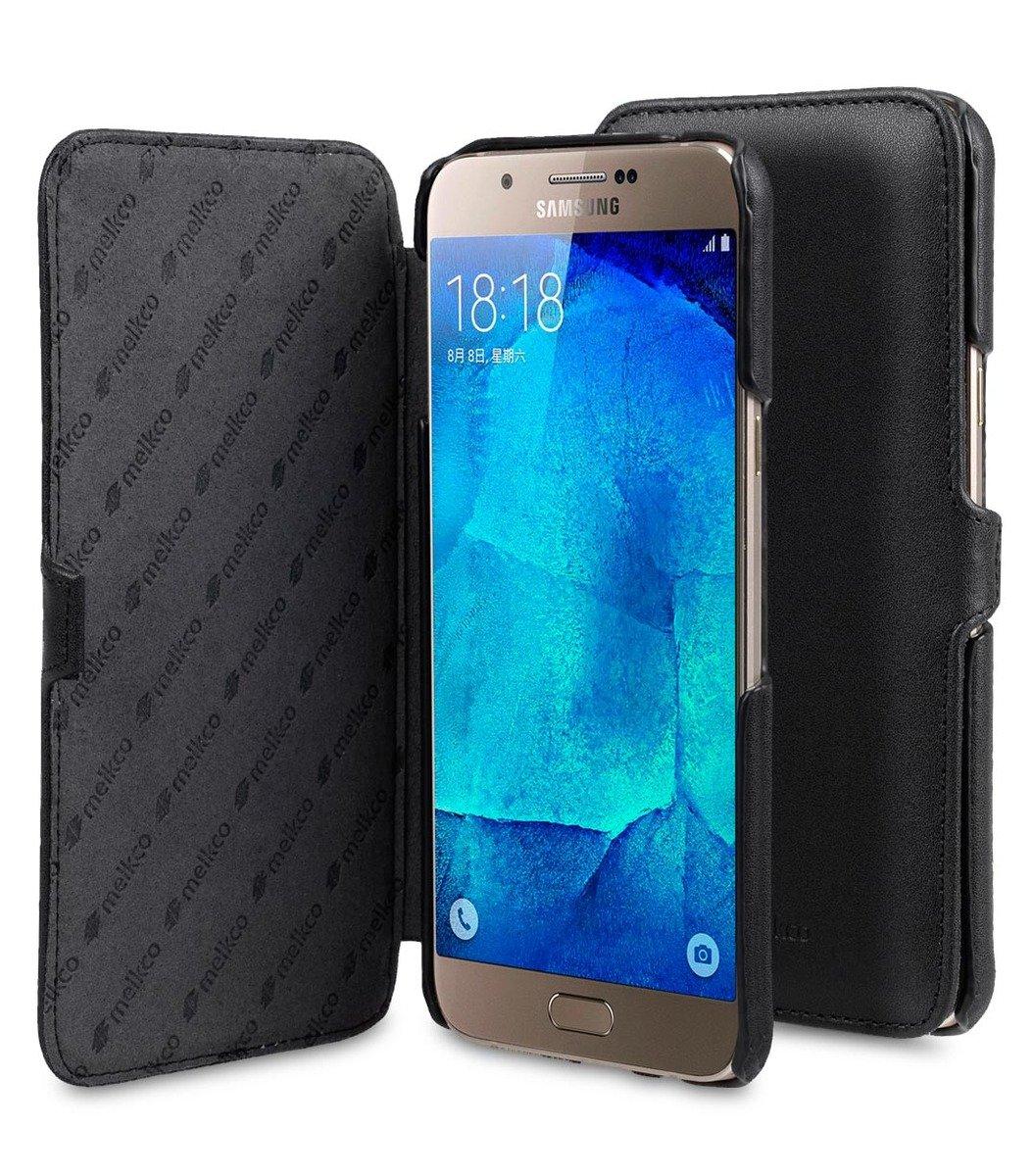 Samsung Galaxy A8 Booka Type 高級真皮革手機套 - 黑色