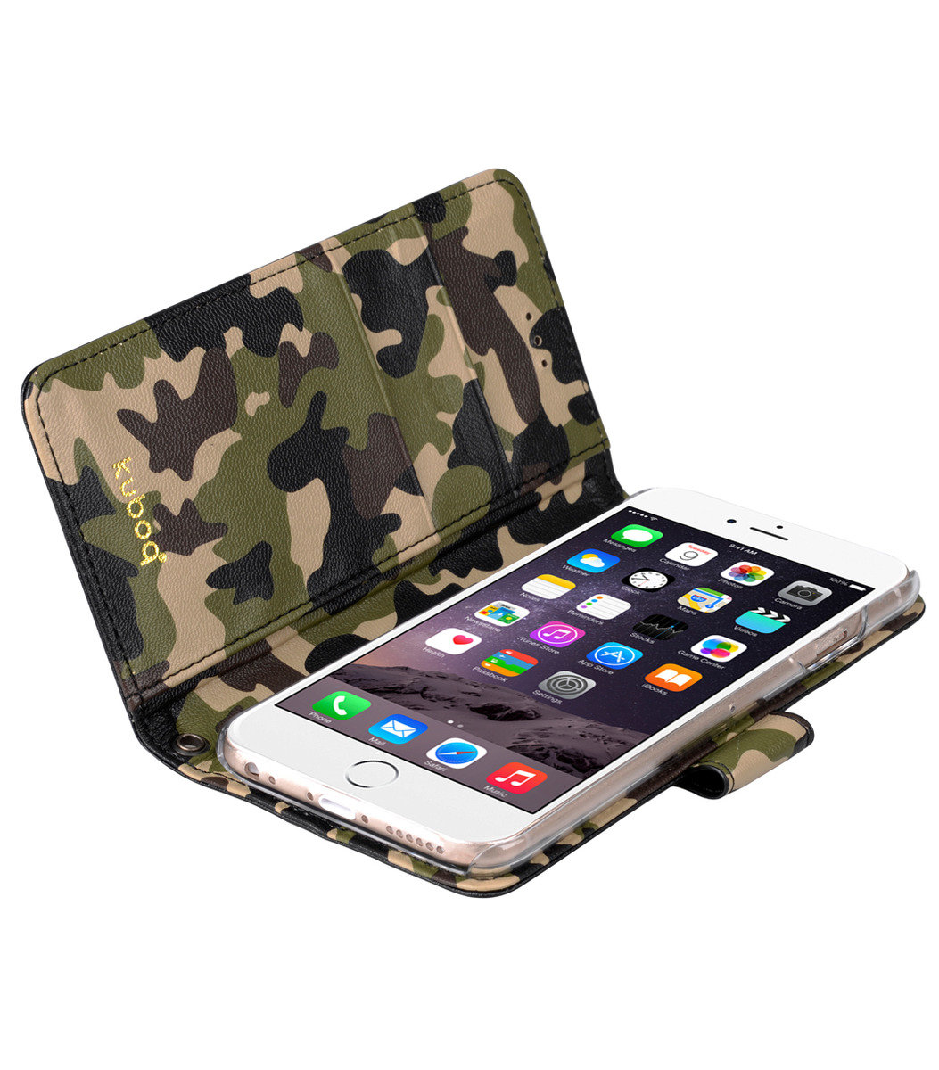 Kuboq日本迷彩風格iPhone 6s Plus / 6 Plus PU手機套 (黑色/迷彩)