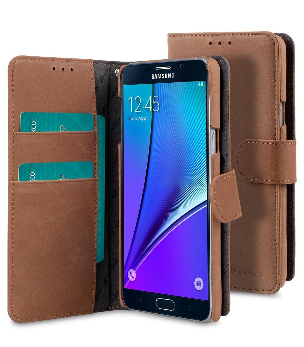 Samsung Galaxy Note 5 Wallet Book Type 高級真皮革手機套 - 磨沙啡色