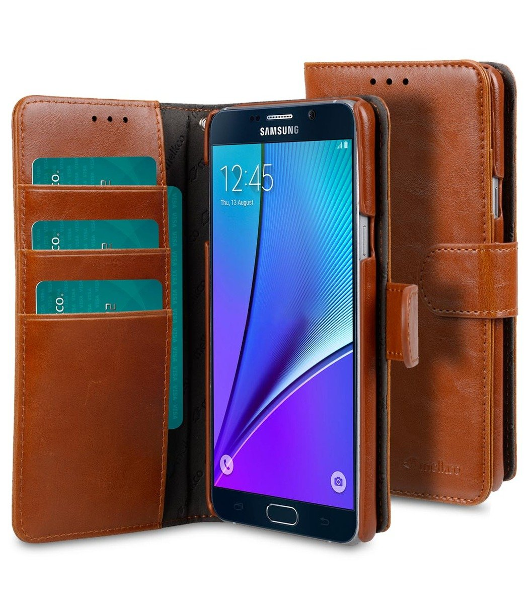 Samsung Galaxy Note 5 Wallet Book Type 人造皮手機套 - 啡色