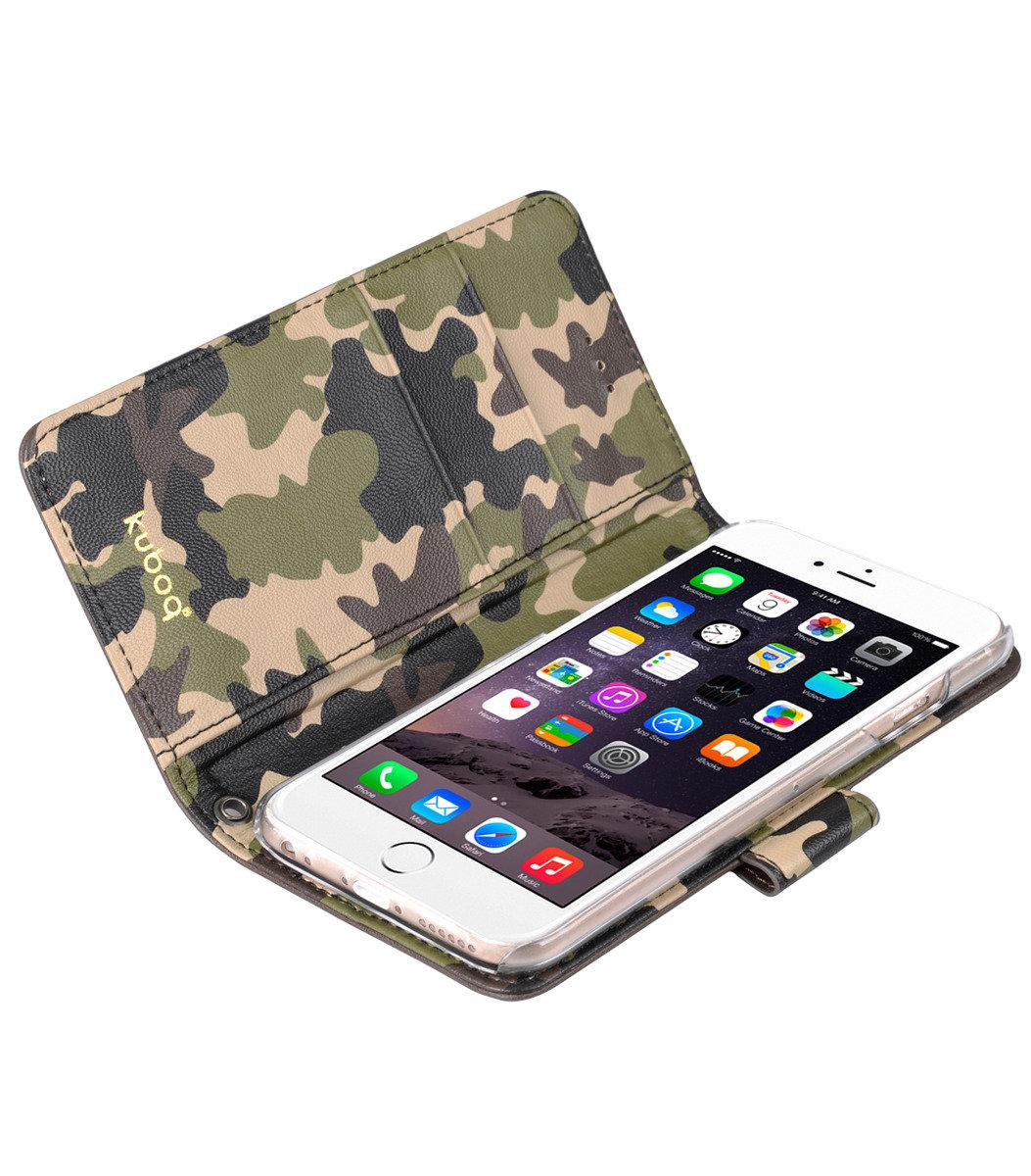 Kuboq日本迷彩風格iPhone 6s Plus / 6 Plus PU手機套 (咖啡色/迷彩)